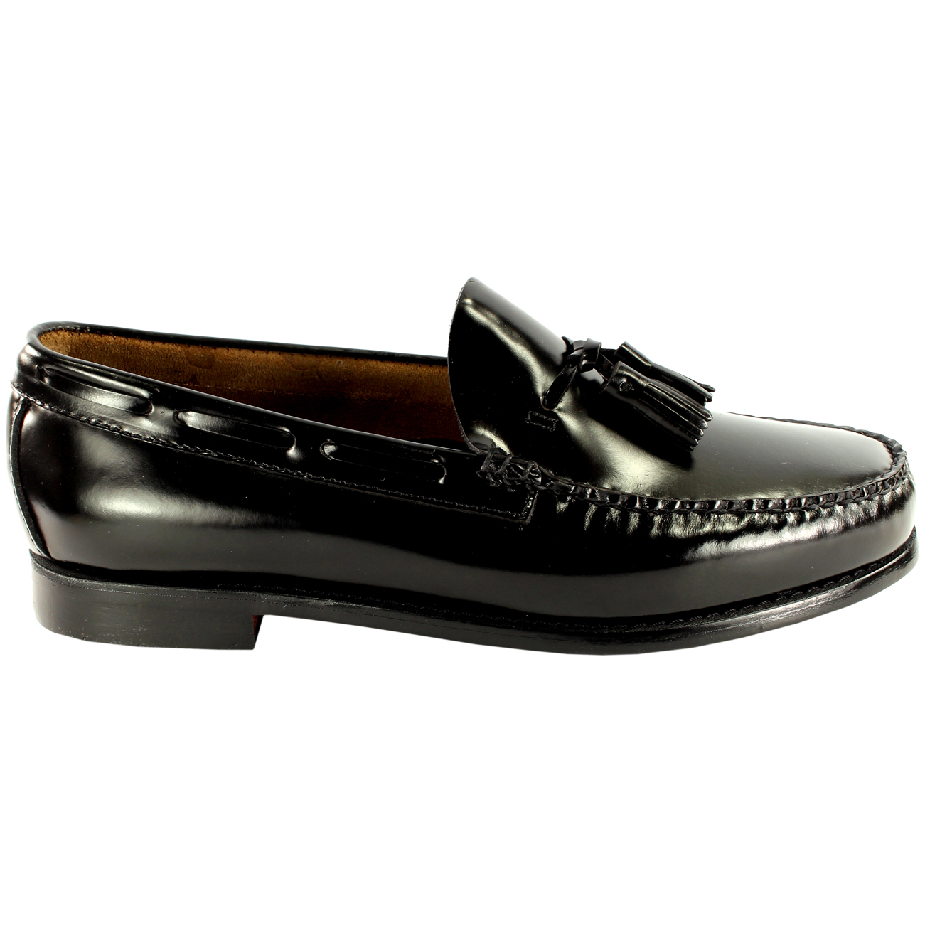 Mens Bass Black Larkin Moccasin Tassel Shoes