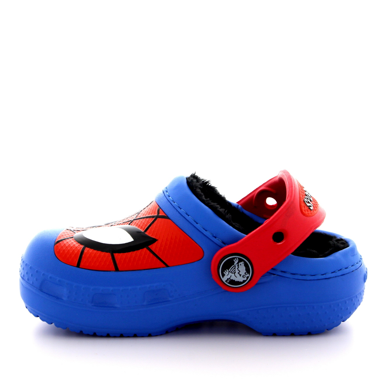 Kids Boys Crocs Spiderman Fuzz Lined Faux Fur Mules Winter ...