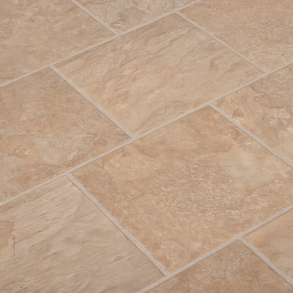 Laminate flooring beige slate tile 2 12m2 for Laminate tile squares