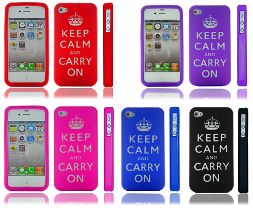 For Apple iPhone 4/4S Silicone Skin Case/Cover - Keep Calm and Carry On