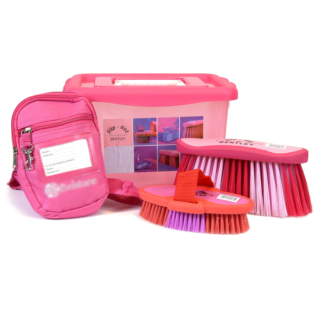 Bentley Slip Not Hoof Brush Pink At Burnhills: Bentley Equestrian Pink Horse Grooming Kit With Flick Body
