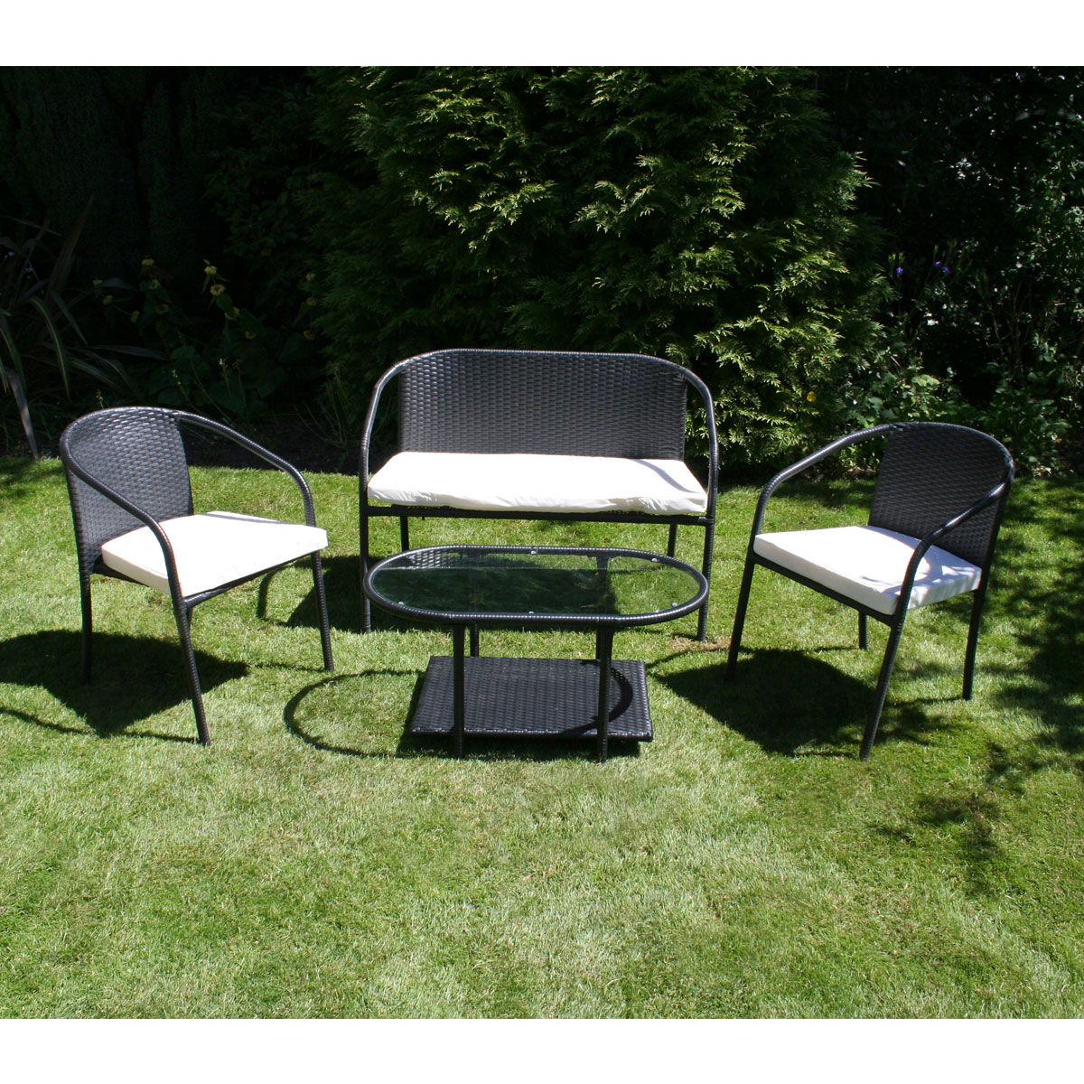 Charles bentley outdoor patio 4 piece sofa black rattan for Patio lounge sets