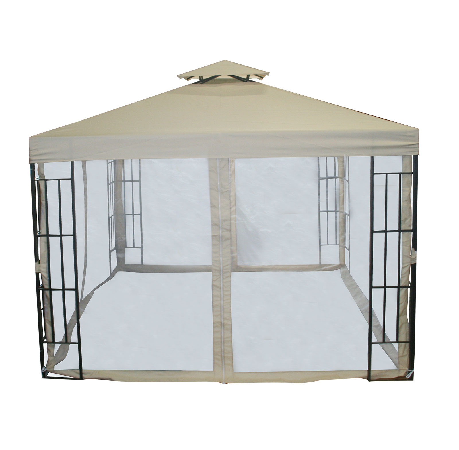 Charles Bentley 3m X 3m Steel Art Beige Gazebo With Side Curtains Outdoor Party Ebay