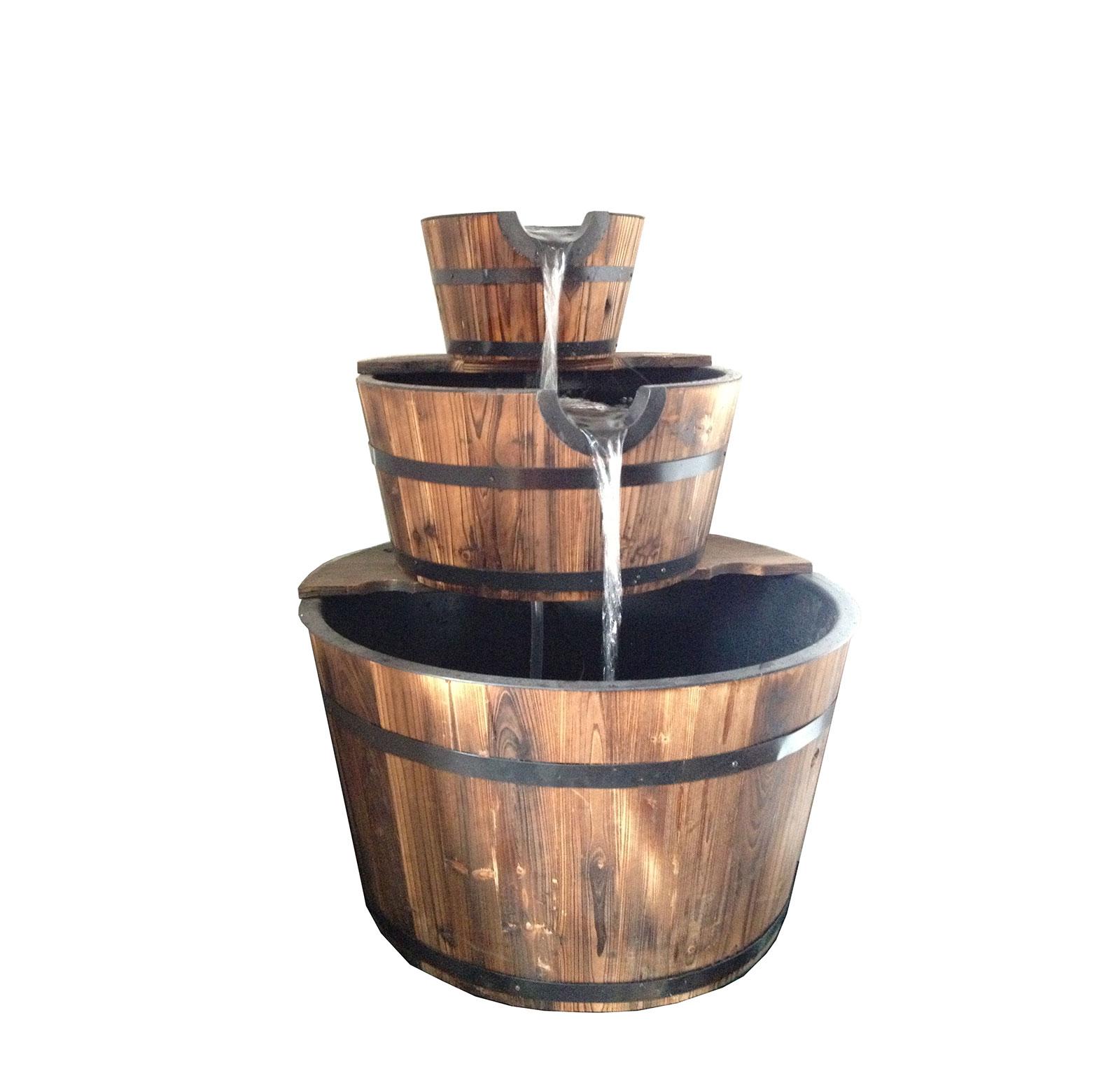 Bentley outdoor patio three tier wooden barrel water feature fountain