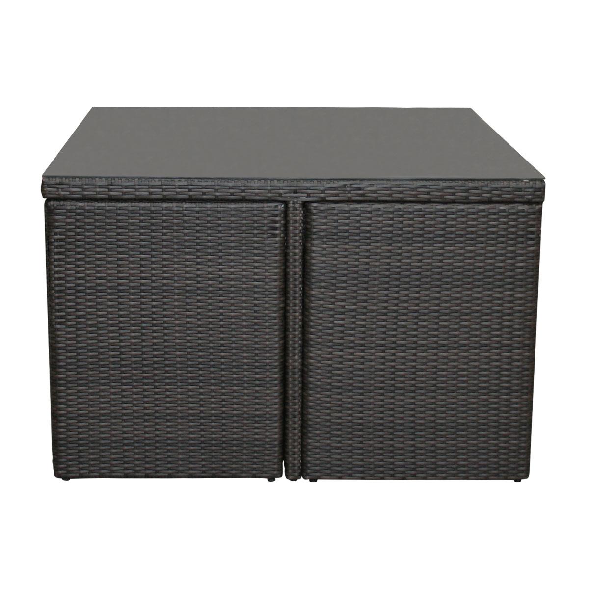 charles bentley wicker rattan 5 piece cube furniture set brown or grey options ebay. Black Bedroom Furniture Sets. Home Design Ideas