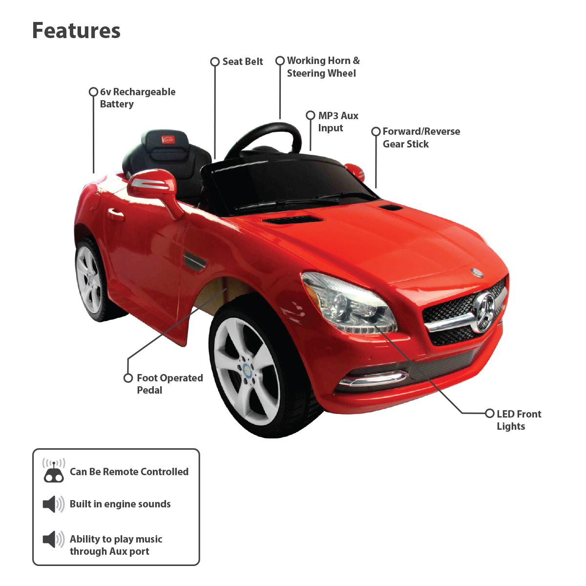 Mercedes benz licensed slk children 39 s kids ride on for Mercedes benz kids car
