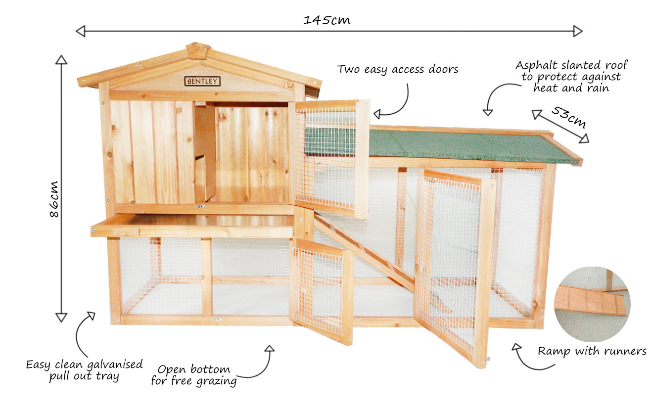 Charles bentley premium 2 storey wooden outdoor guinea pig for Free guinea pig hutch