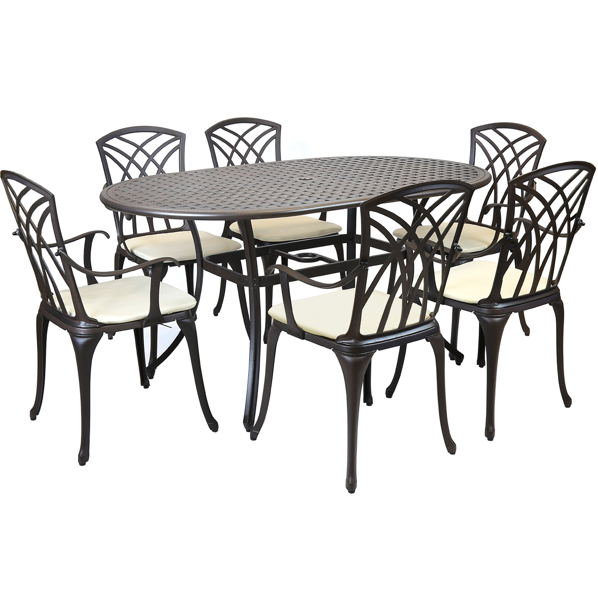 Metal cast aluminium 7 piece garden furniture table patio for Metal garden table and chairs