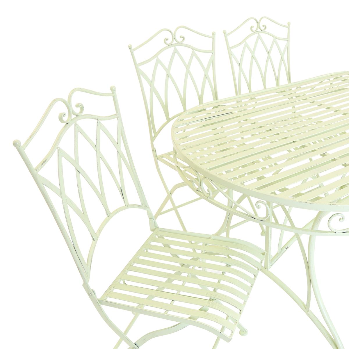 Charles Bentley Garden 7 Piece Wrought Iron Furniture Set In Green Or Blue
