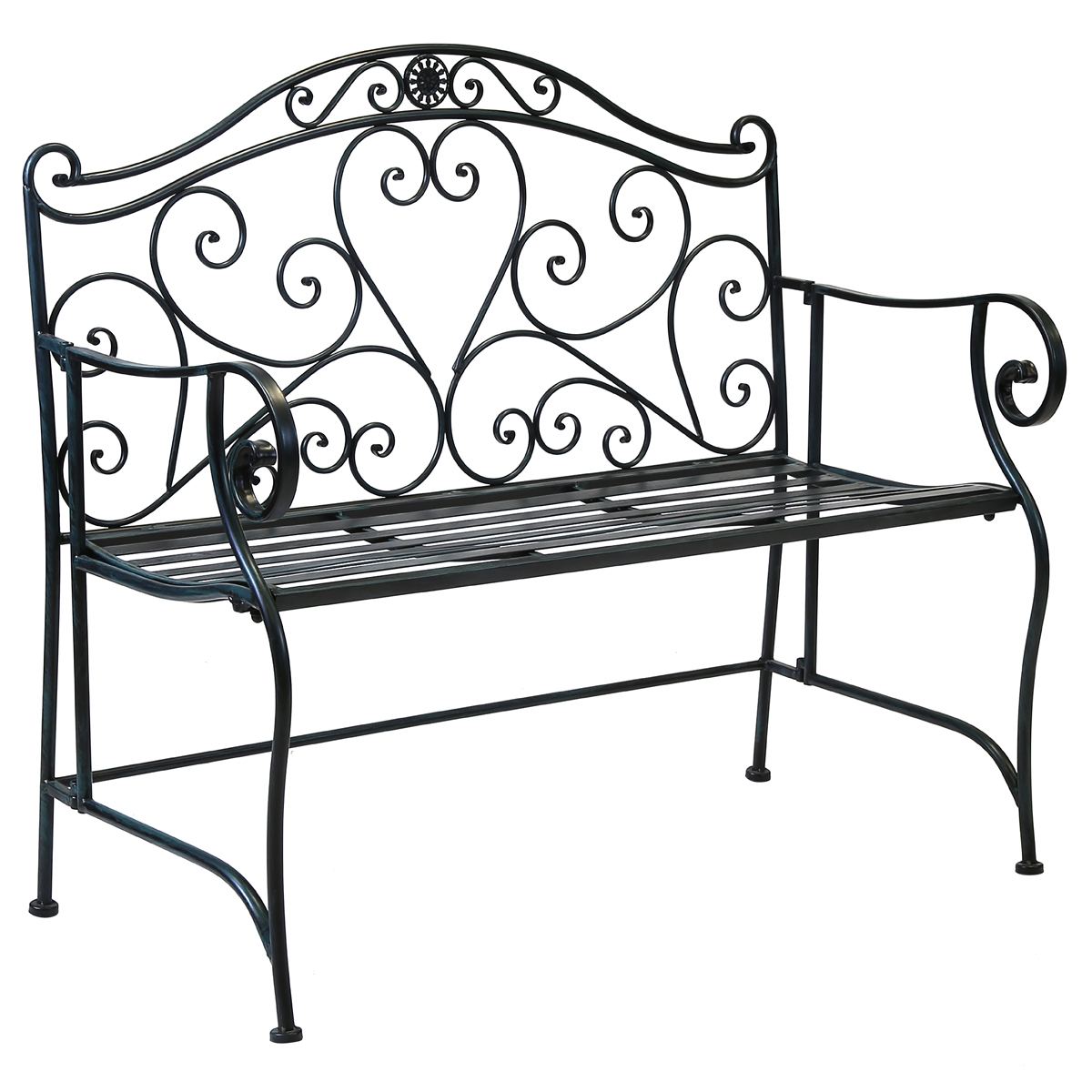 Charles Bentley Garden 2 Seater Wrought Iron Bench Metal Outdoor Seat B W Ebay