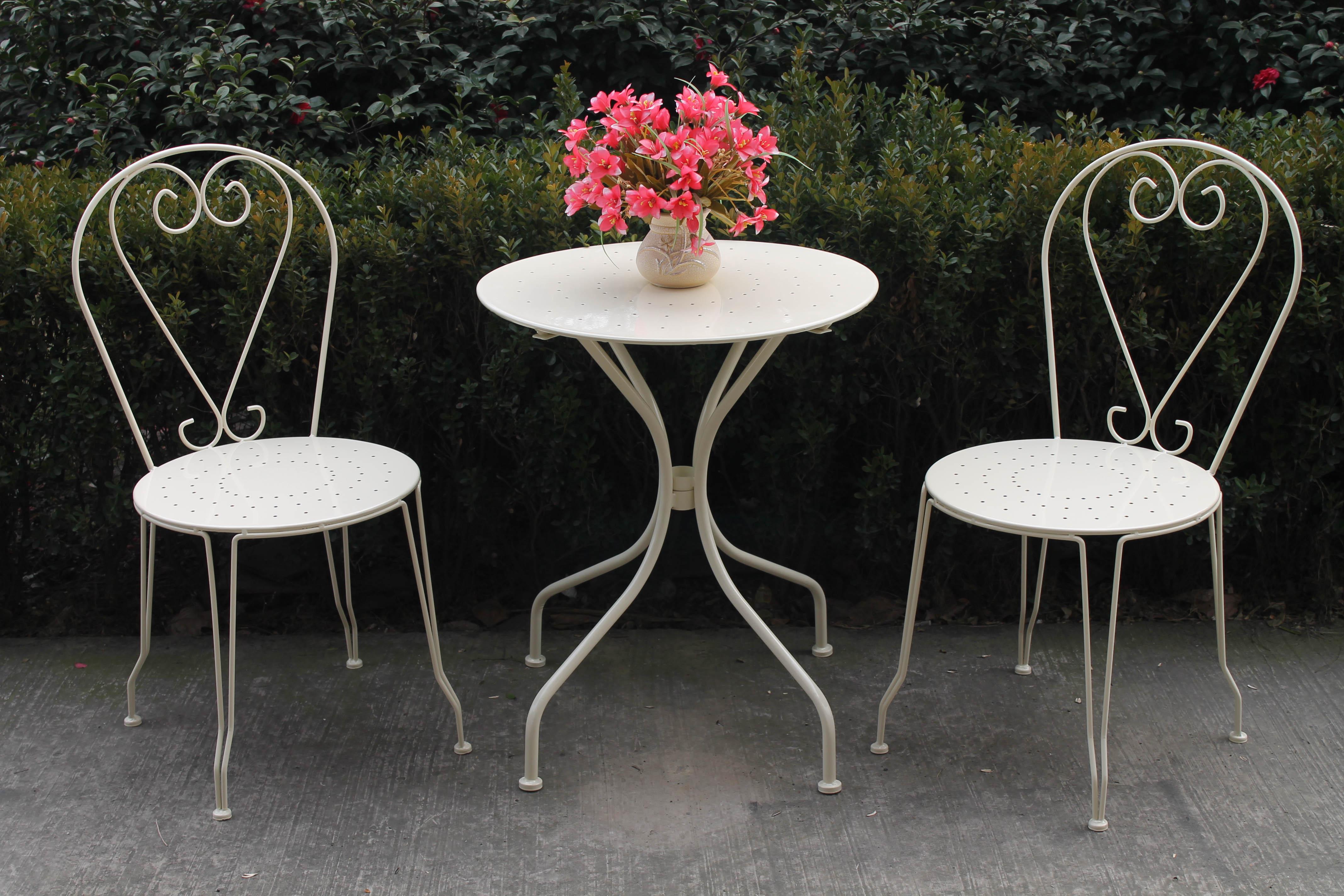 3 PIECE METAL GARDEN PATIO FURNITURE BISTRO SET ROUND TABLE. Cream Metal Garden Furniture   CotonGarden com