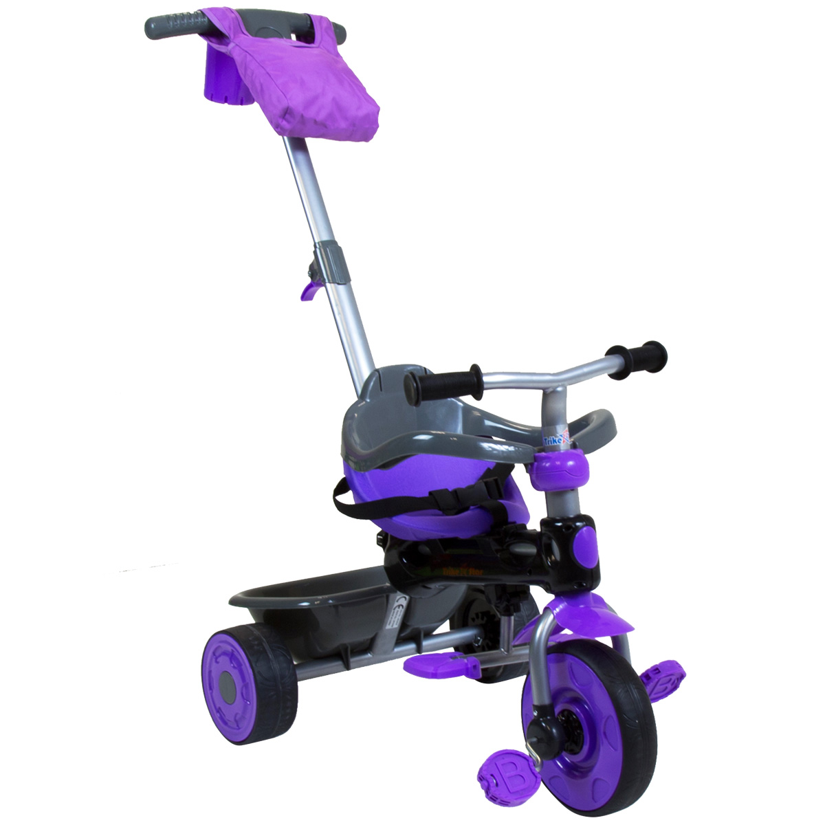 Trikestar Deluxe 4 In 1 Pedal Trike Canopy Purple Red