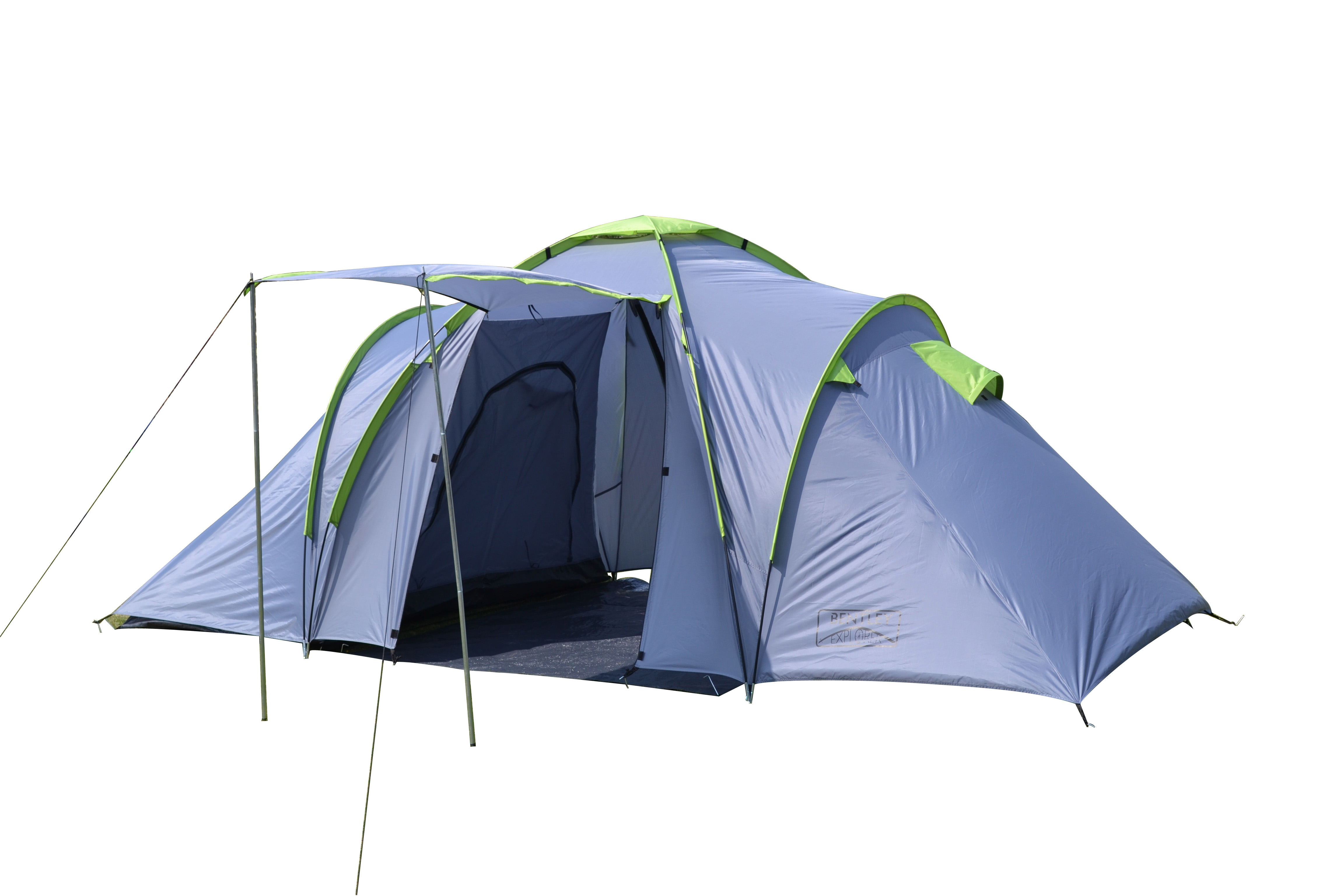 explorer 4 person four man family camping tent with 2 bedrooms grey
