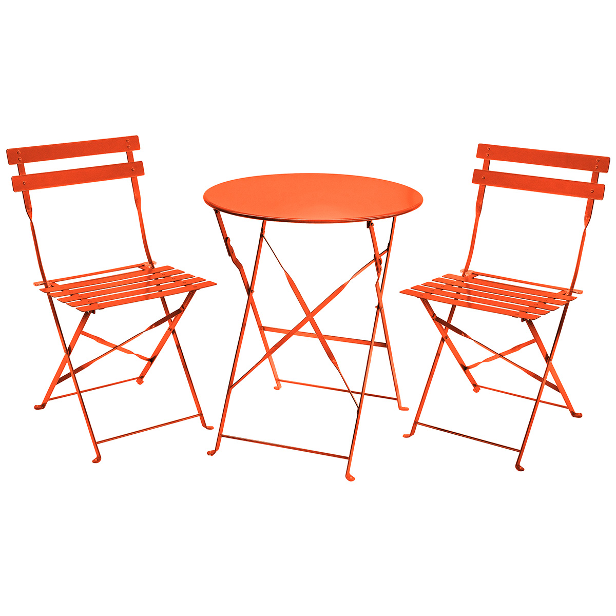 Charles bentley 3 piece metal bistro set garden patio for Metal patio table and chairs set