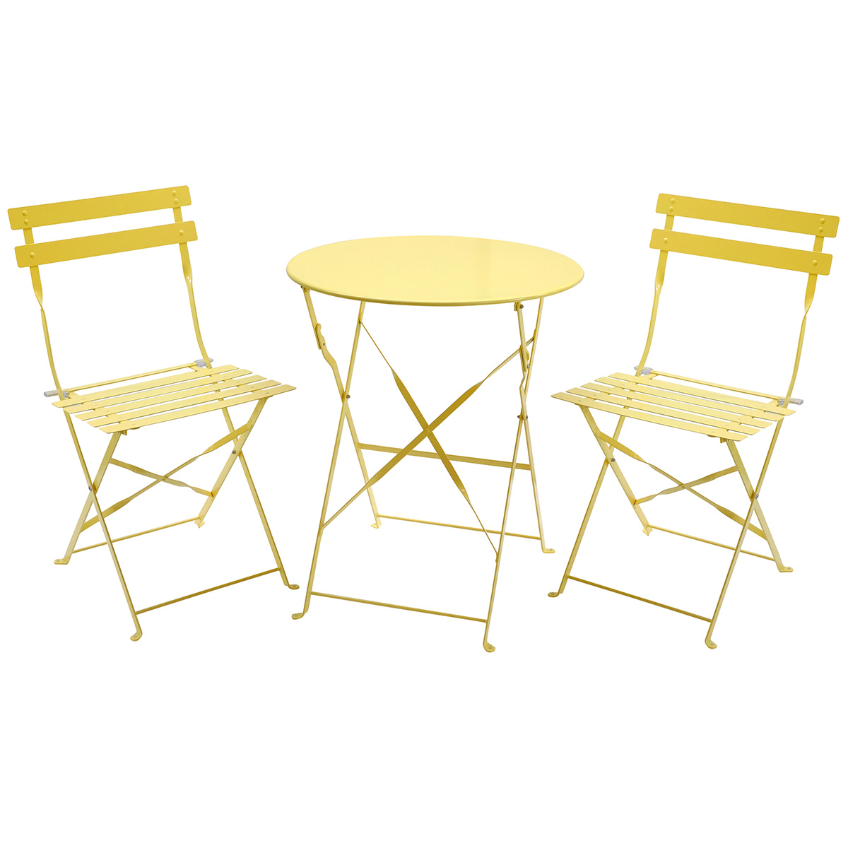 charles bentley 3 piece metal bistro set garden patio table 2 chairs 5 colours. Black Bedroom Furniture Sets. Home Design Ideas