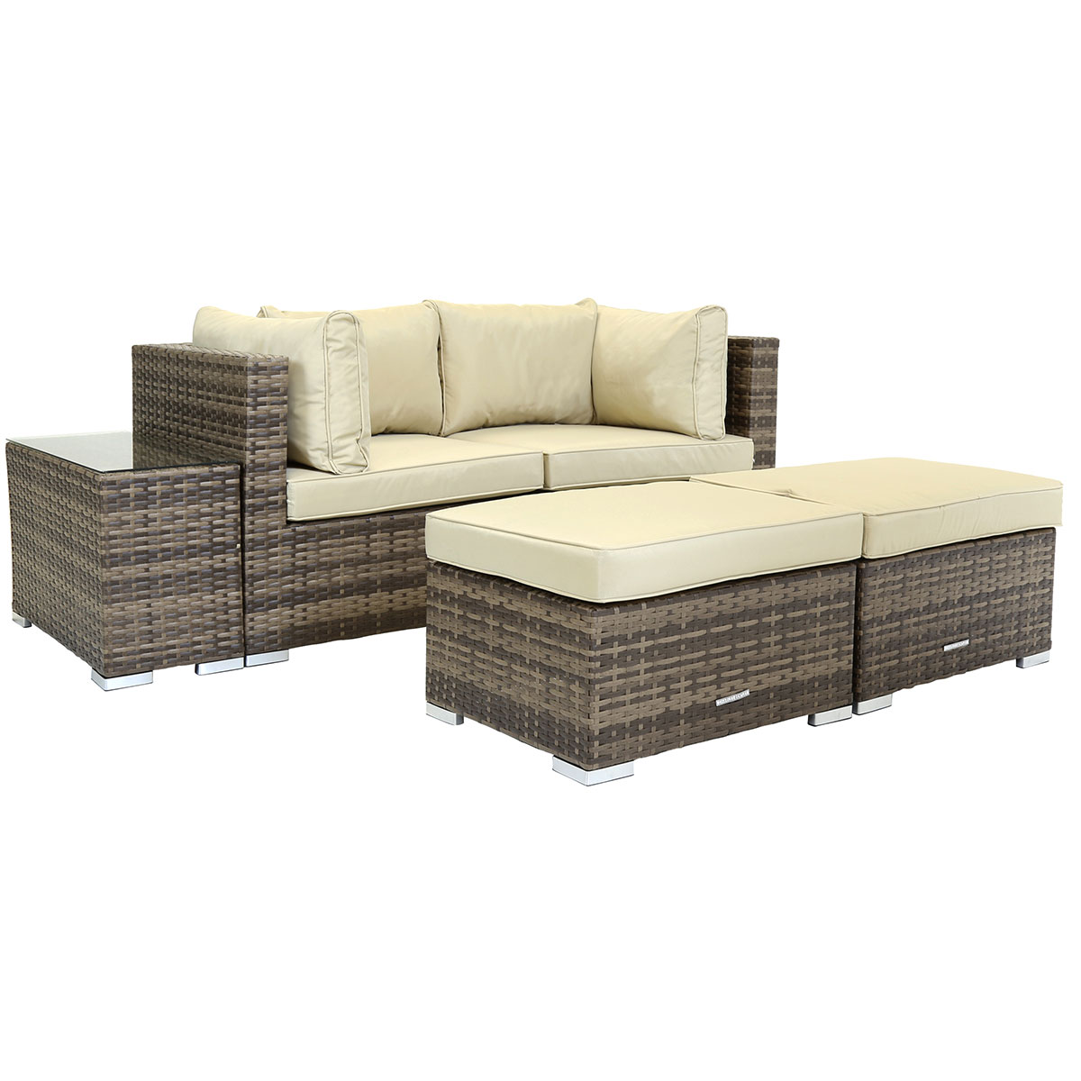 Rattan lounge  Charles Bentley 2 Seater Rattan Lounge Set Love Seat Footstools ...