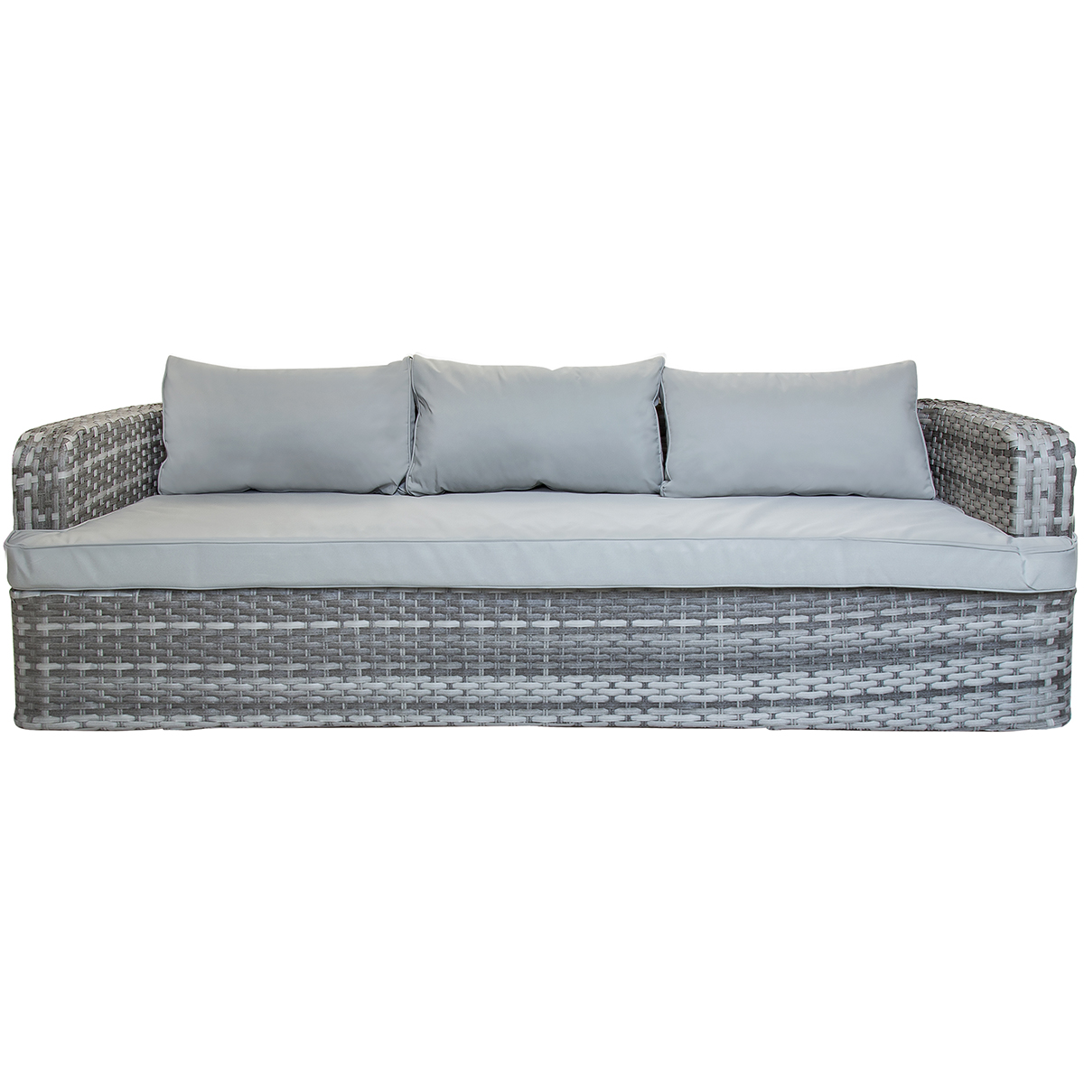 charles bentley rattan sofa with two large footstools table grey natural sand ebay. Black Bedroom Furniture Sets. Home Design Ideas