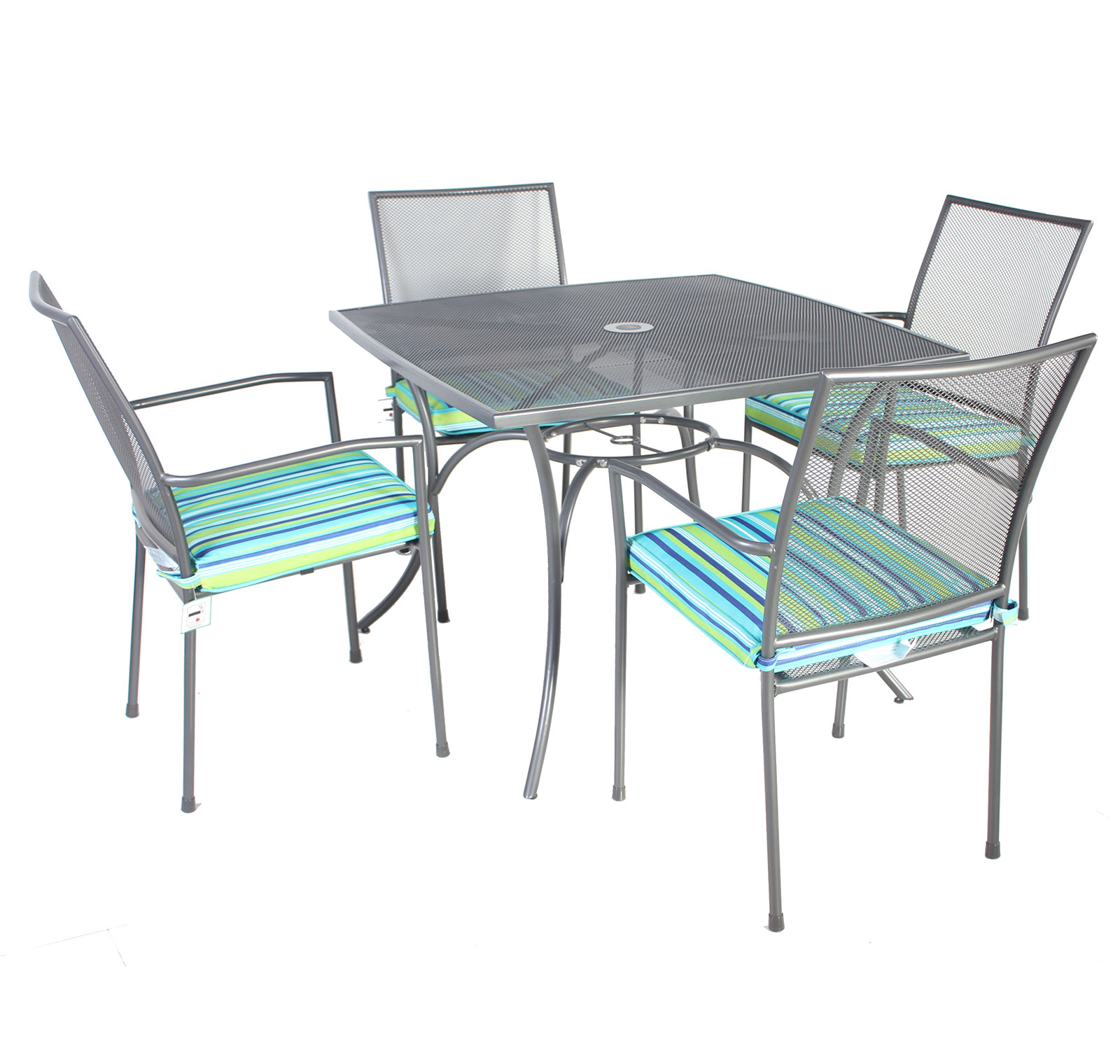 Bentley garden outdoor metal mesh 5 piece table and chairs for Metal garden table and chairs