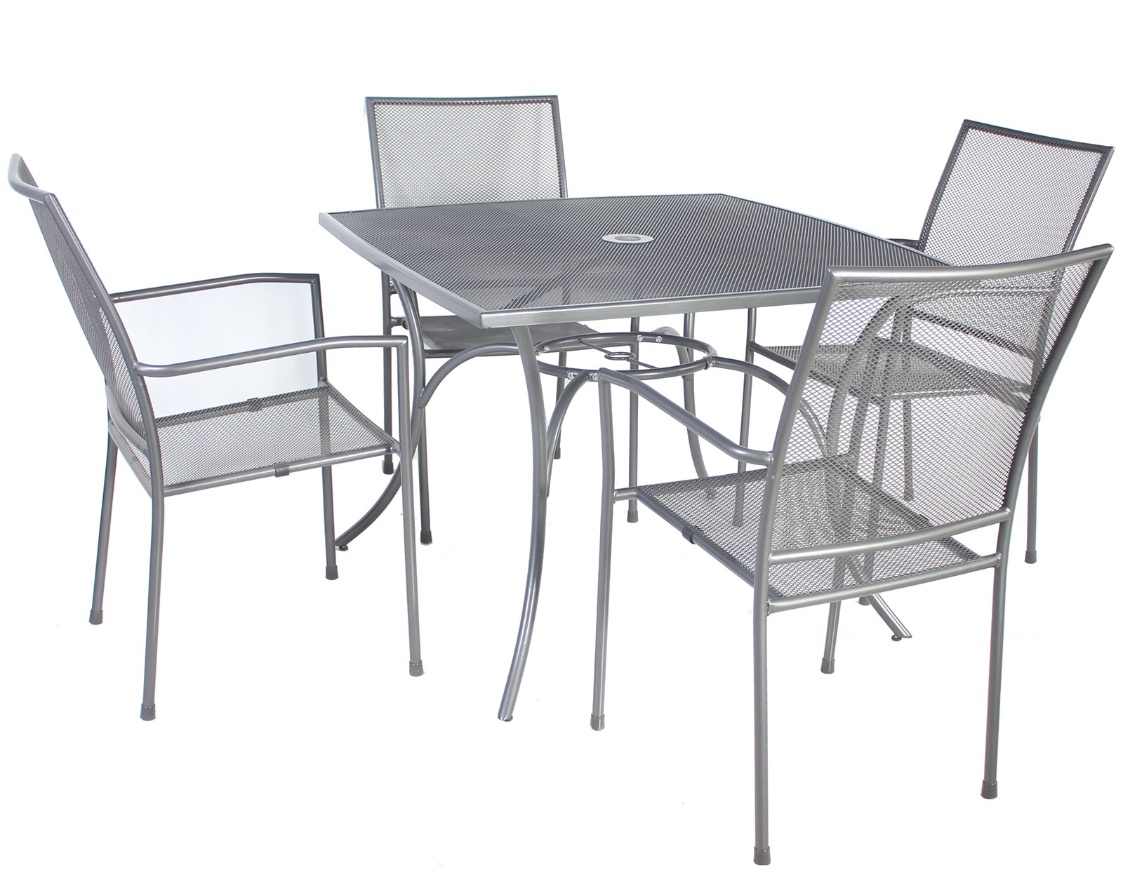 Charles bentley outdoor metal mesh 5 piece table and for Metal patio table and chairs set