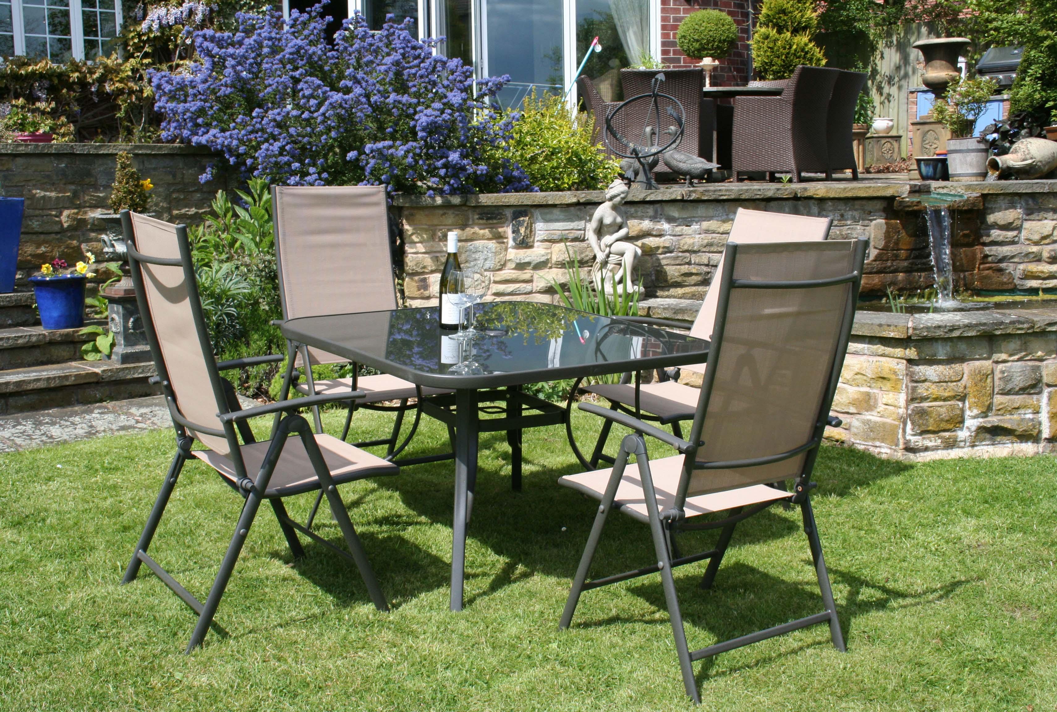 Metal garden furniture sets   Metal Textilene Garden Patio Furniture 5  Piece Table Chairs Set Beige. Metal Garden Furniture Sets