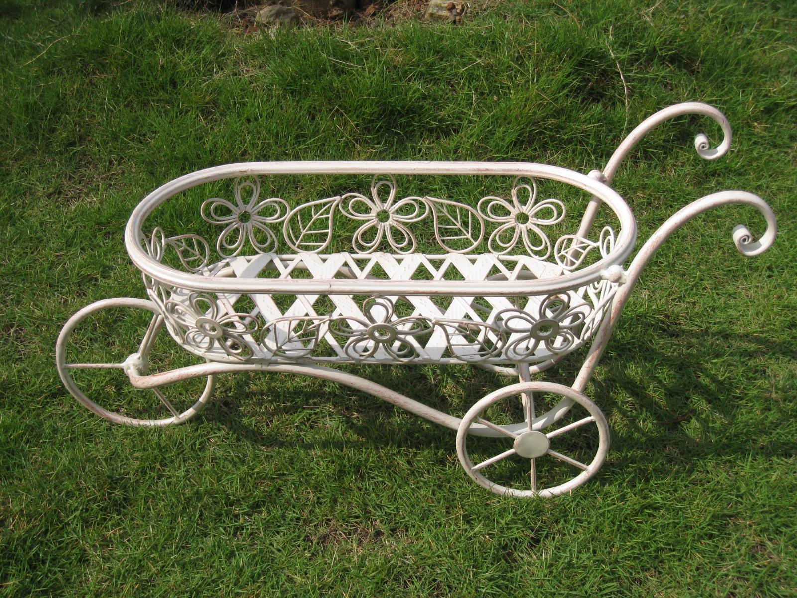 Bentley Garden Wrought Iron Decorative Wheelbarrow Planter Ornament White/Black