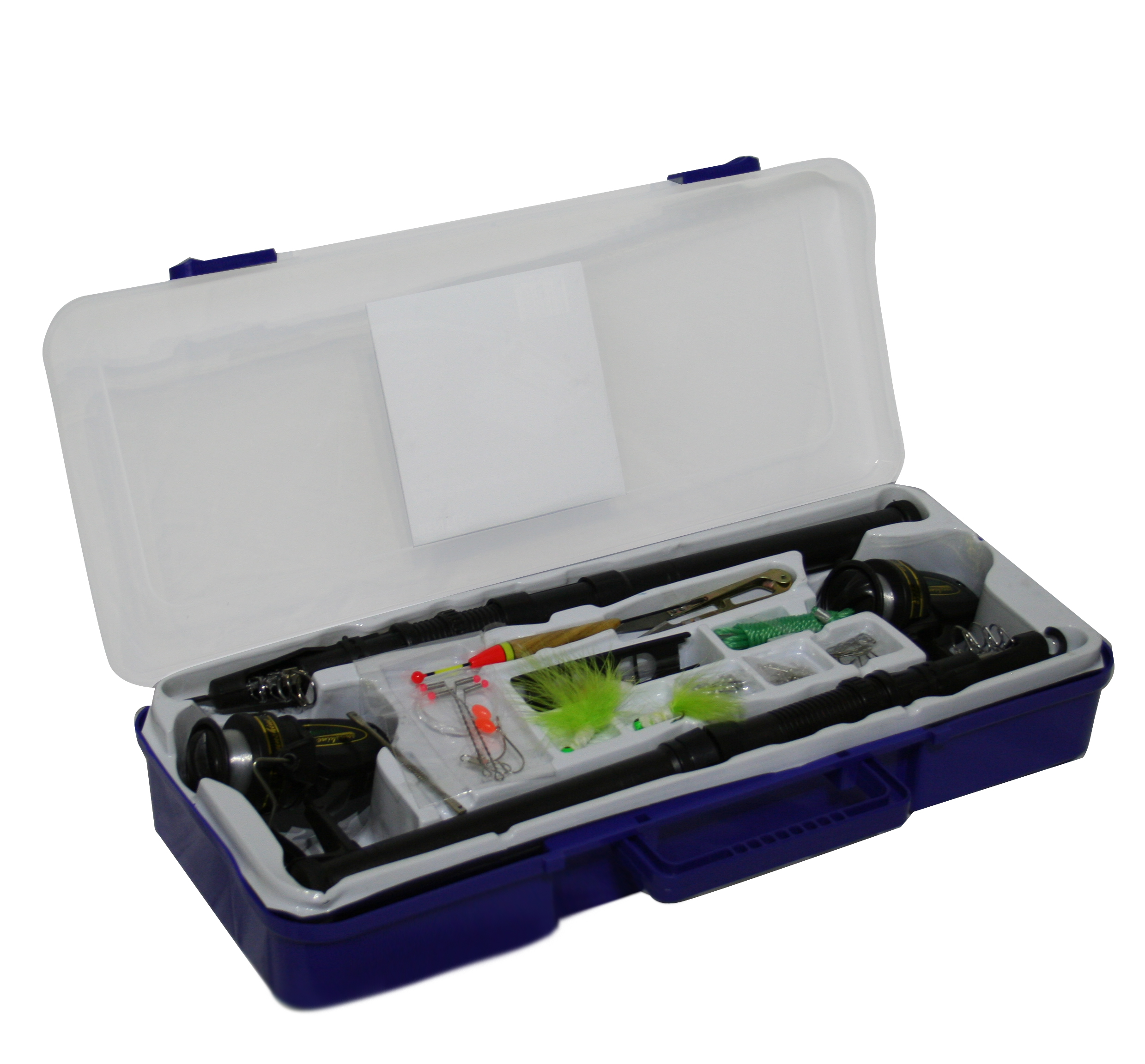 Charles Bentley Travel Fishing Tackle Box Set For Two Carry Case Rod Reel