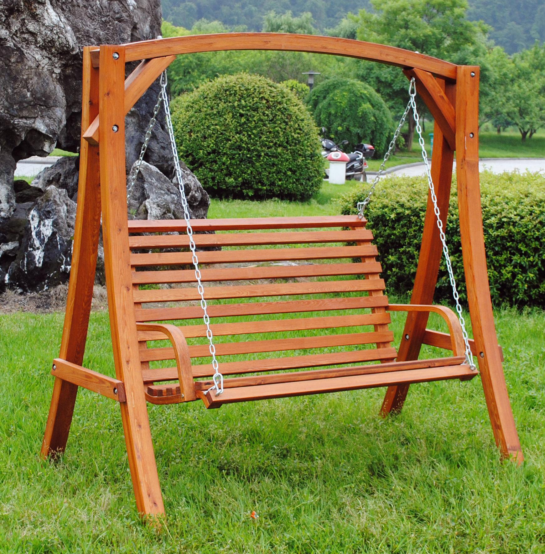 2 3 seater larch wood wooden garden outdoor swing seat - Columpio madera jardin ...