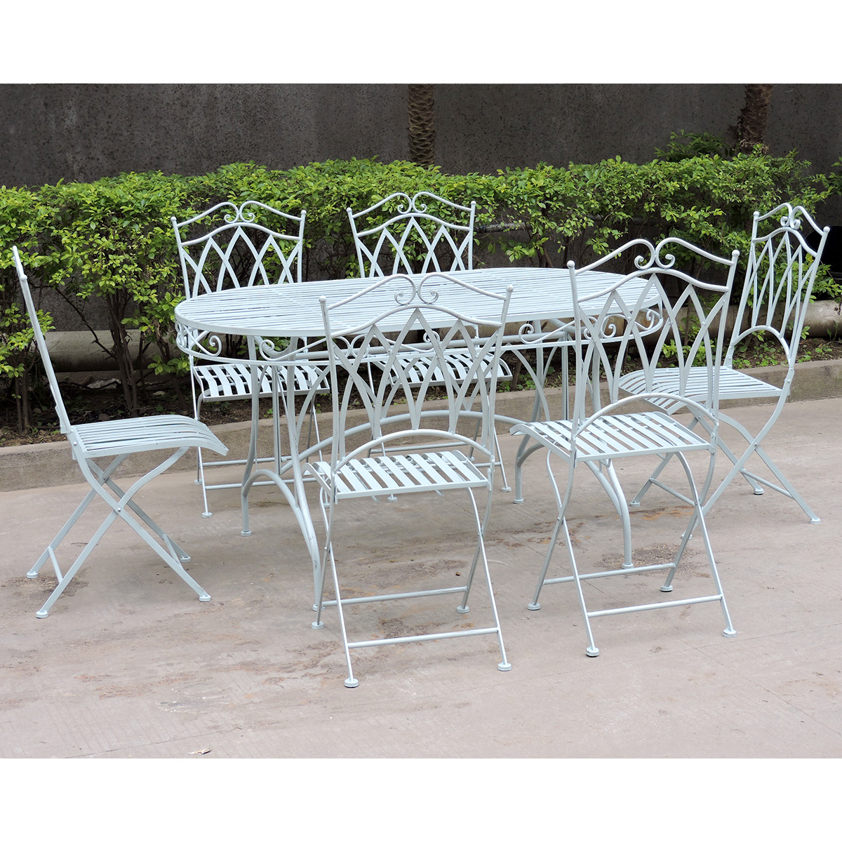 Charles Bentley Garden 7 Piece Wrought Iron Furniture Set ...