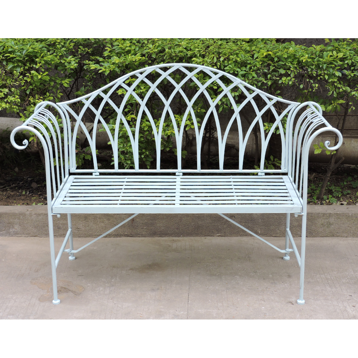 Charles bentley pastel shade wrought iron garden bench ornate patio outdoor seat ebay Wrought iron outdoor bench