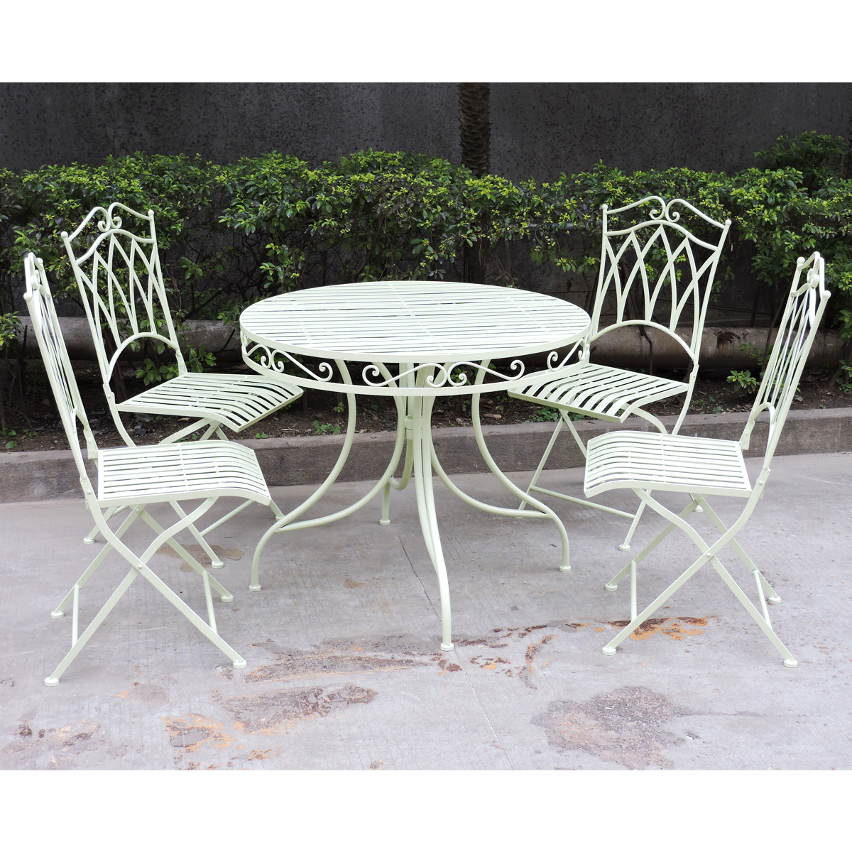 Charles Bentley Garden 5 Piece Wrought Iron furniture Set ...