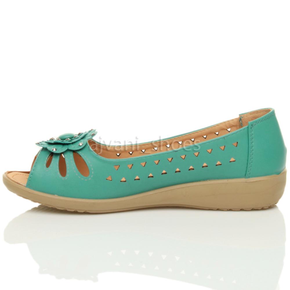 womens low heel flat wedge comfort summer cut out