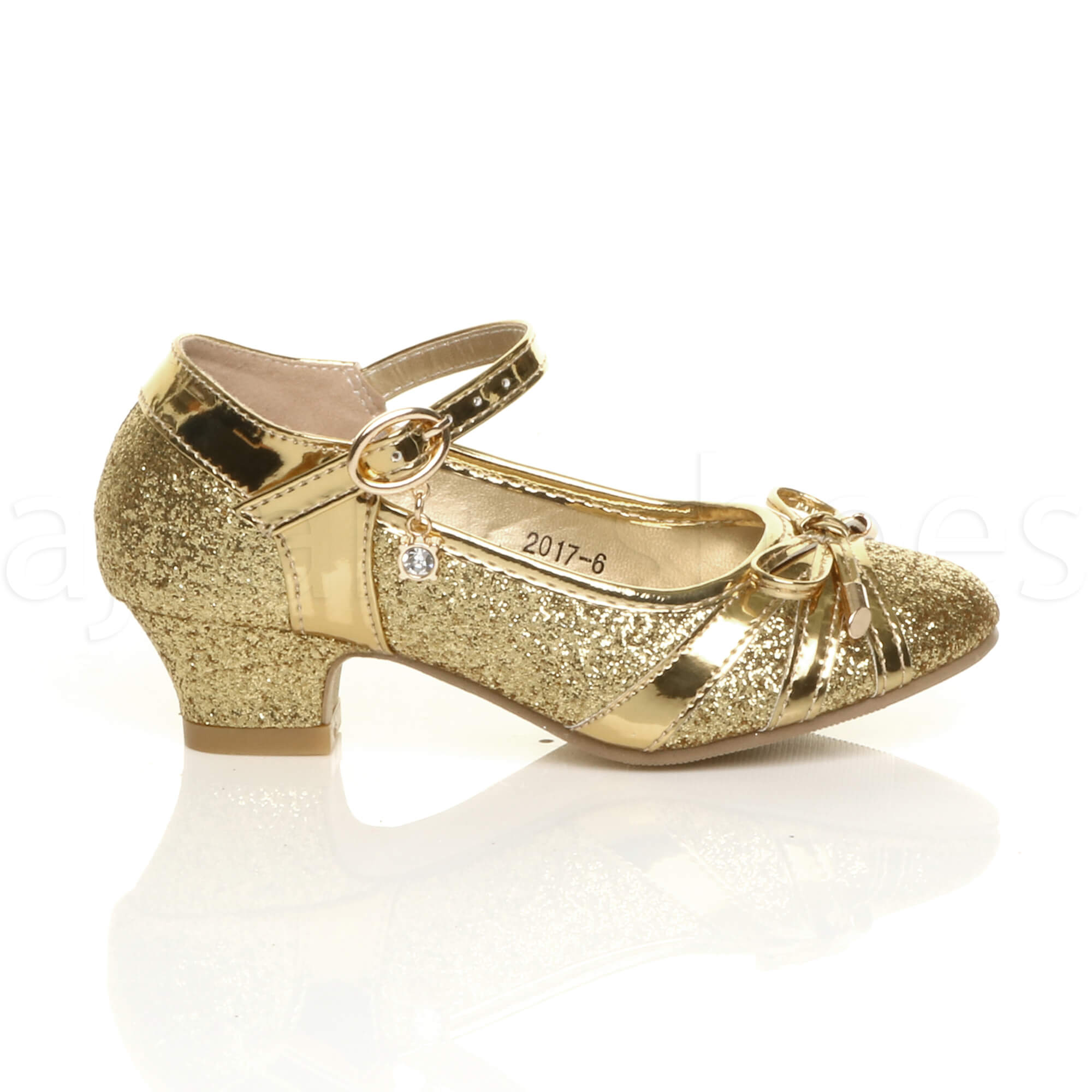 GIRLS KIDS CHILDRENS LOW HEEL DIAMANTE BOW MARY JANE GLITTER COURT SHOES SIZE