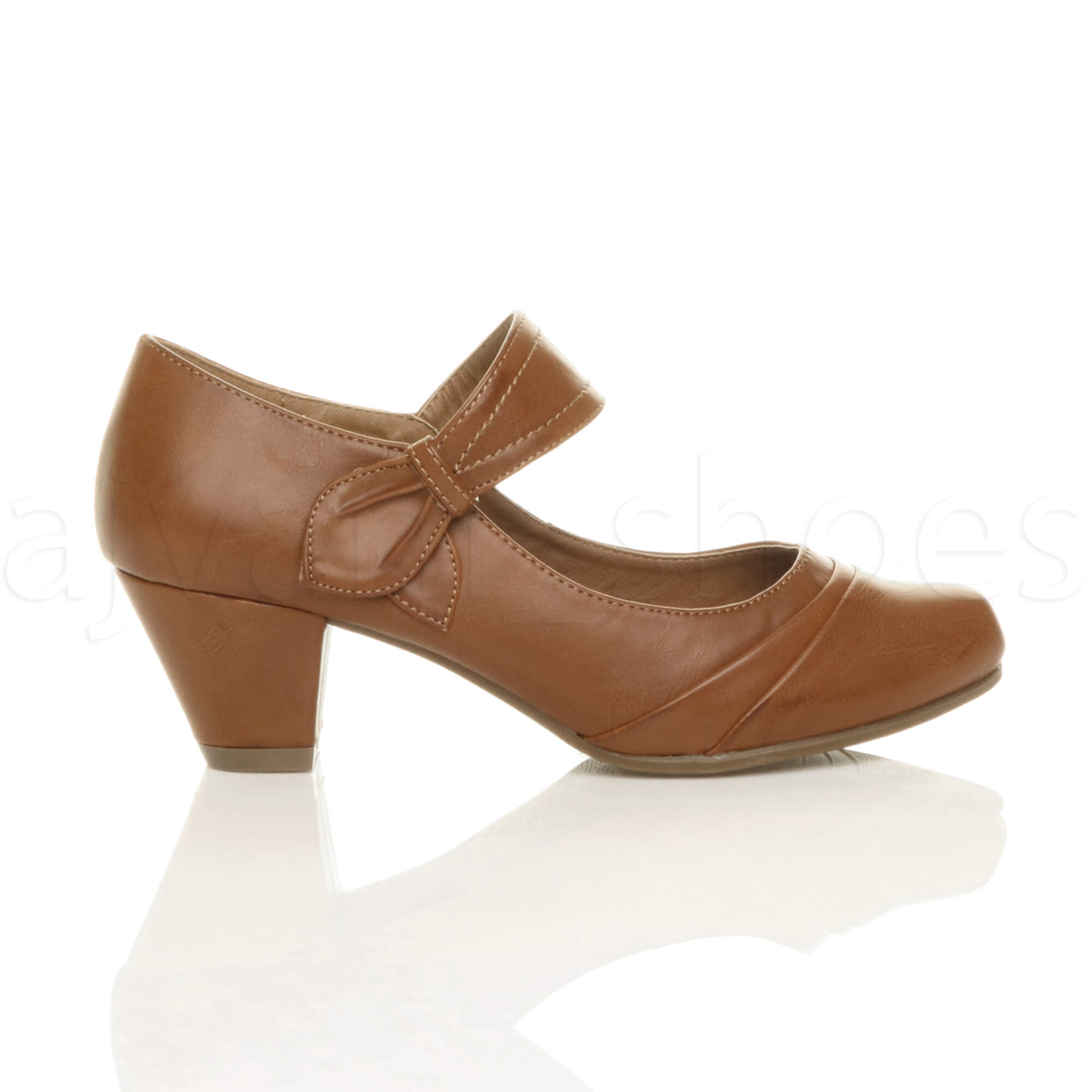 WOMENS LADIES MID HEEL MARY JANE STRAP SMART WORK COMFORT COURT SHOES SIZE