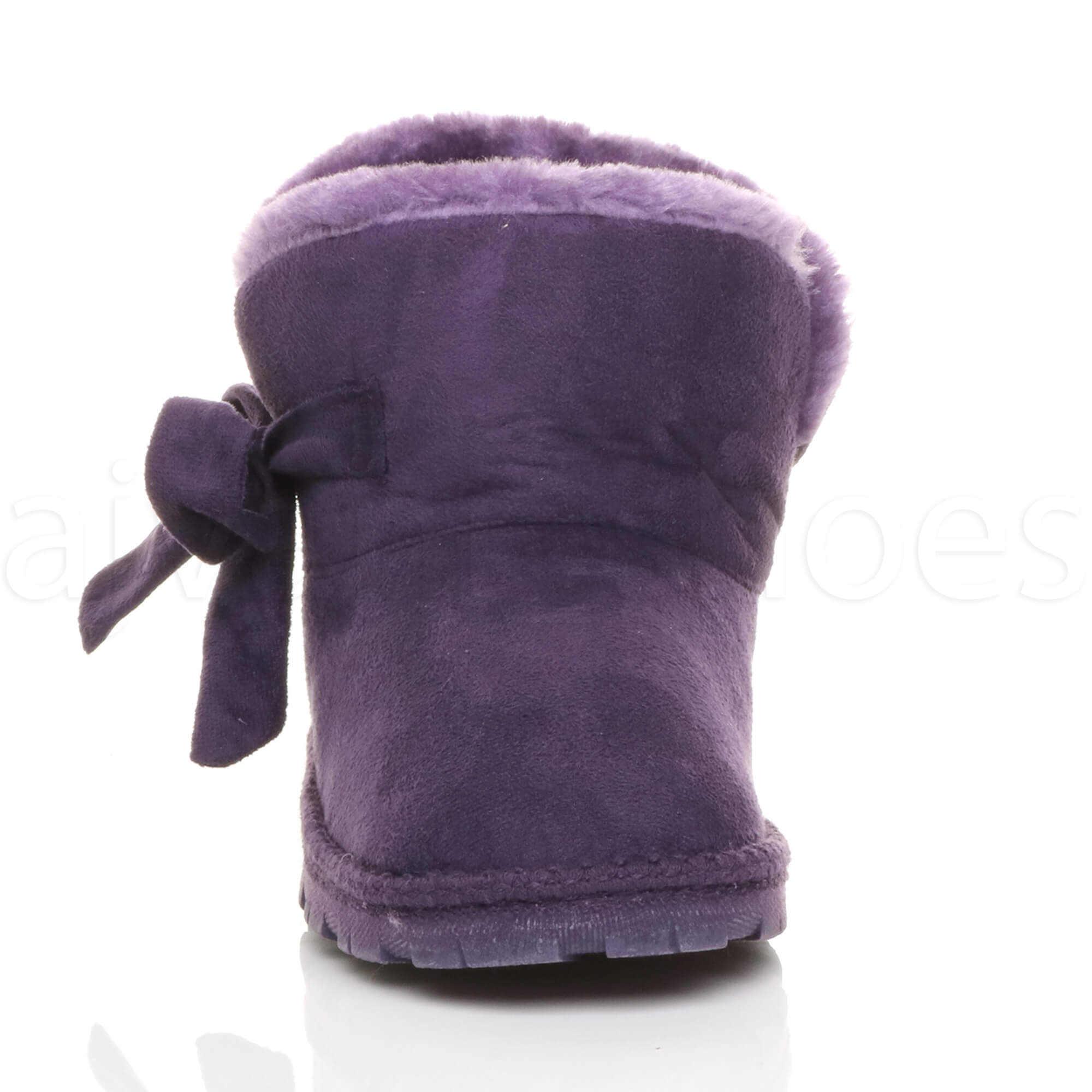 WOMENS LADIES FLAT BOW PULL ON COSY FUR LINED ANKLE BOOTS BOOTIES SLIPPERS SIZE