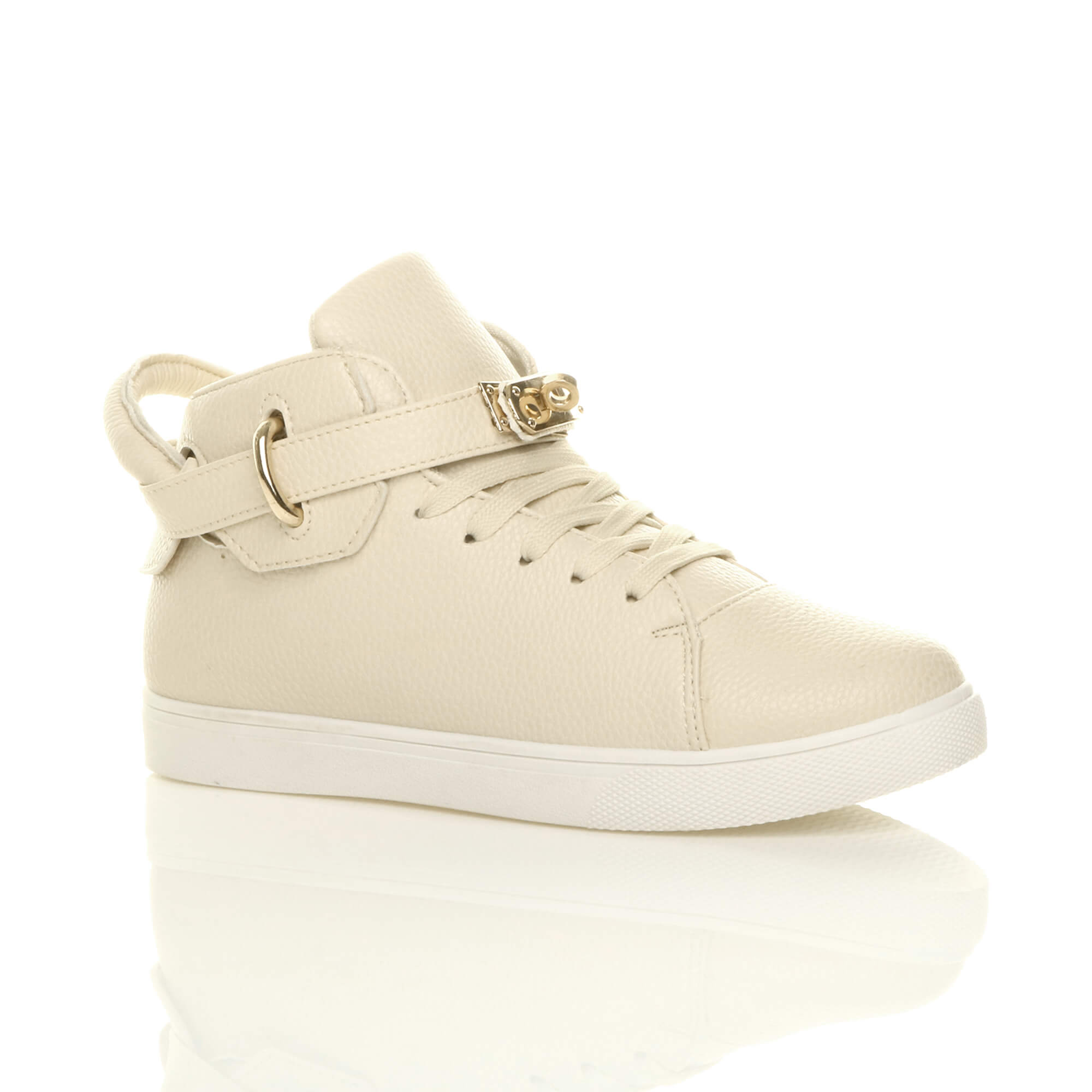 womens flat lace up hi high top ankle trainers