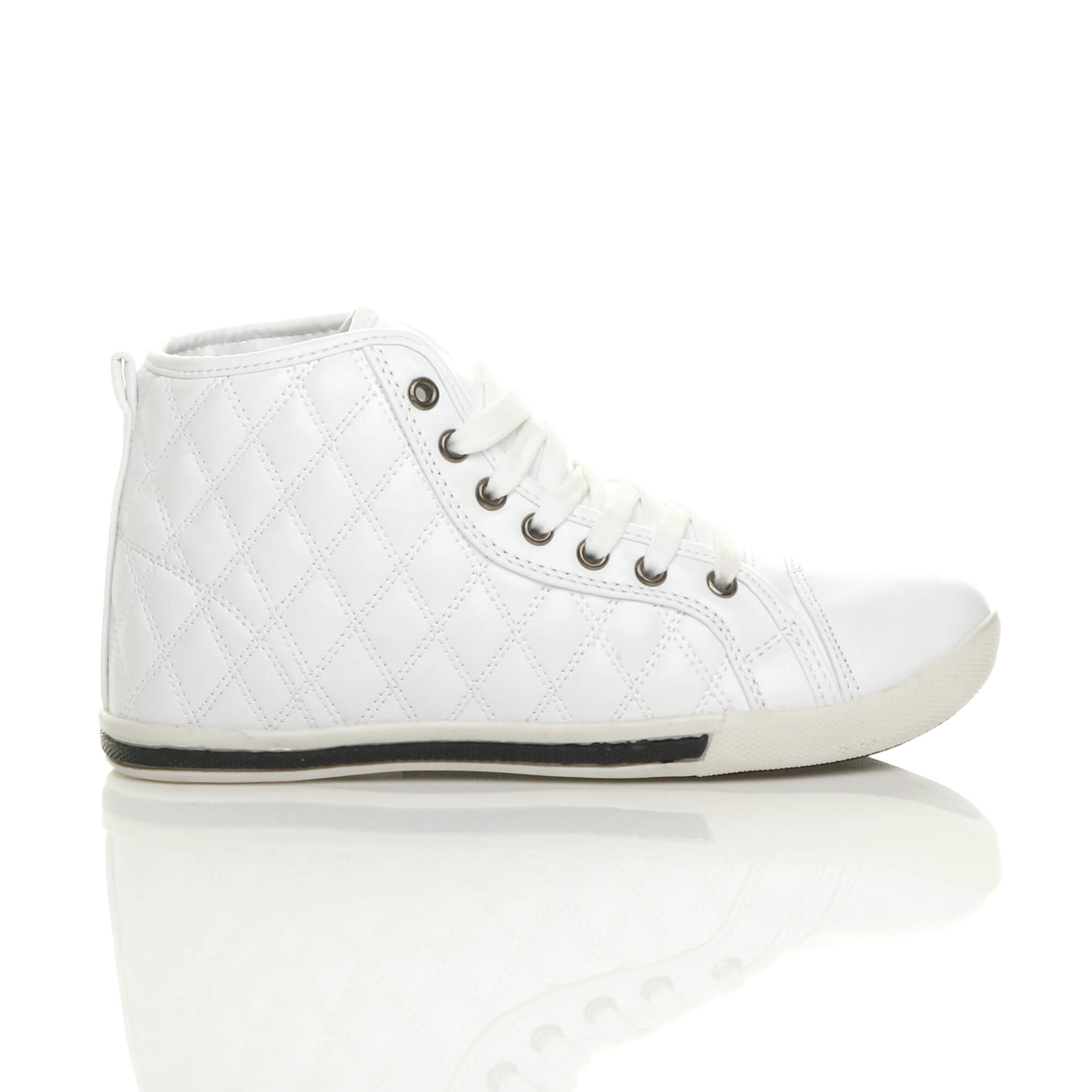 WOMENS-LADIES-FLAT-LACE-UP-QUILTED-HI-HIGH-TOP-PUMPS-TRAINERS-SHOES-SIZE