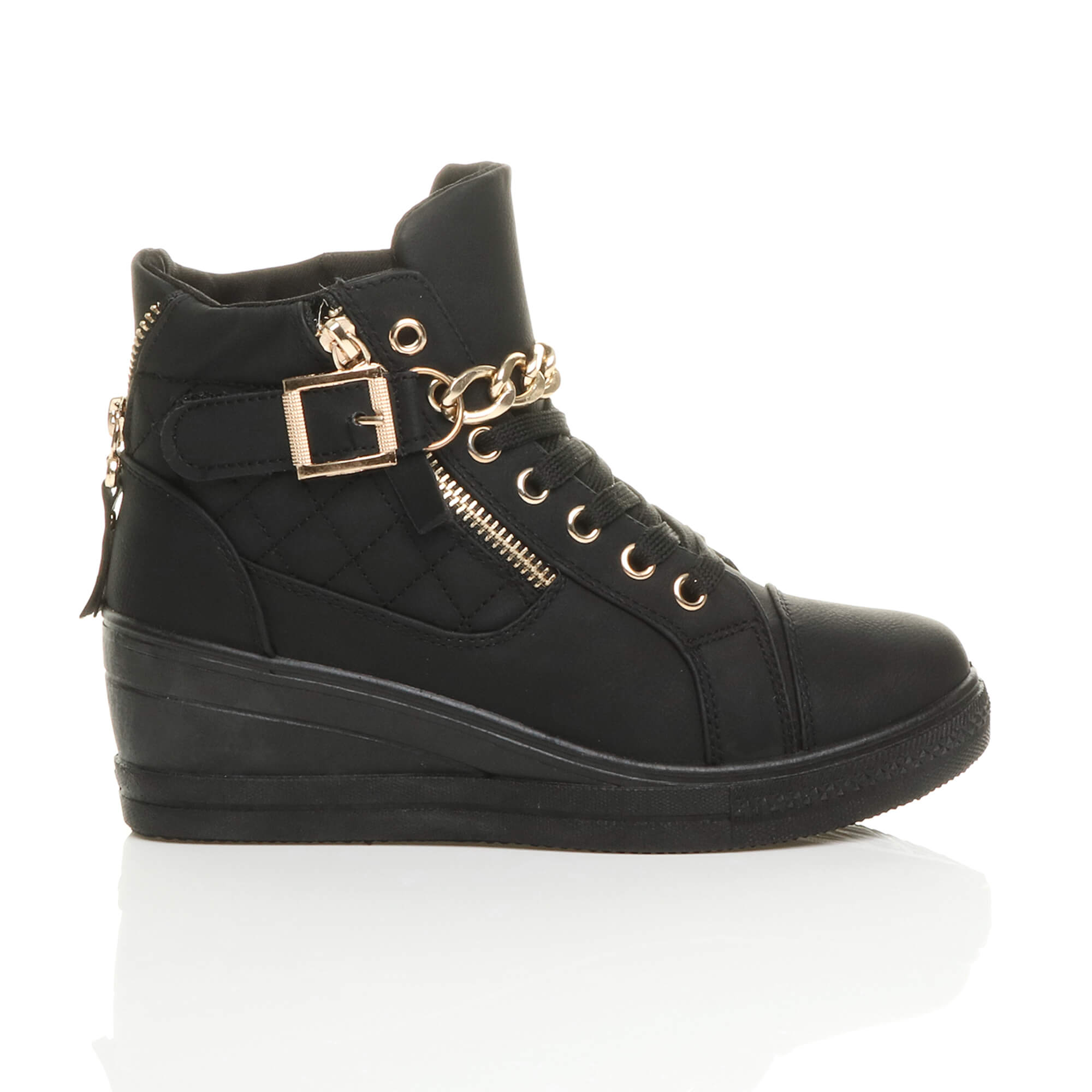 WOMENS LADIES MID HEEL WEDGE PLATFORM CHAIN LACE UP ANKLE TRAINER BOOT SIZE 3 36