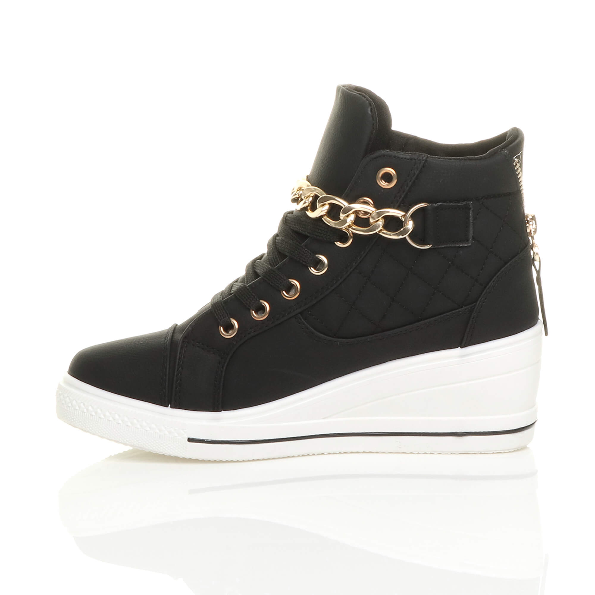 womens mid heel wedge platform lace up high top