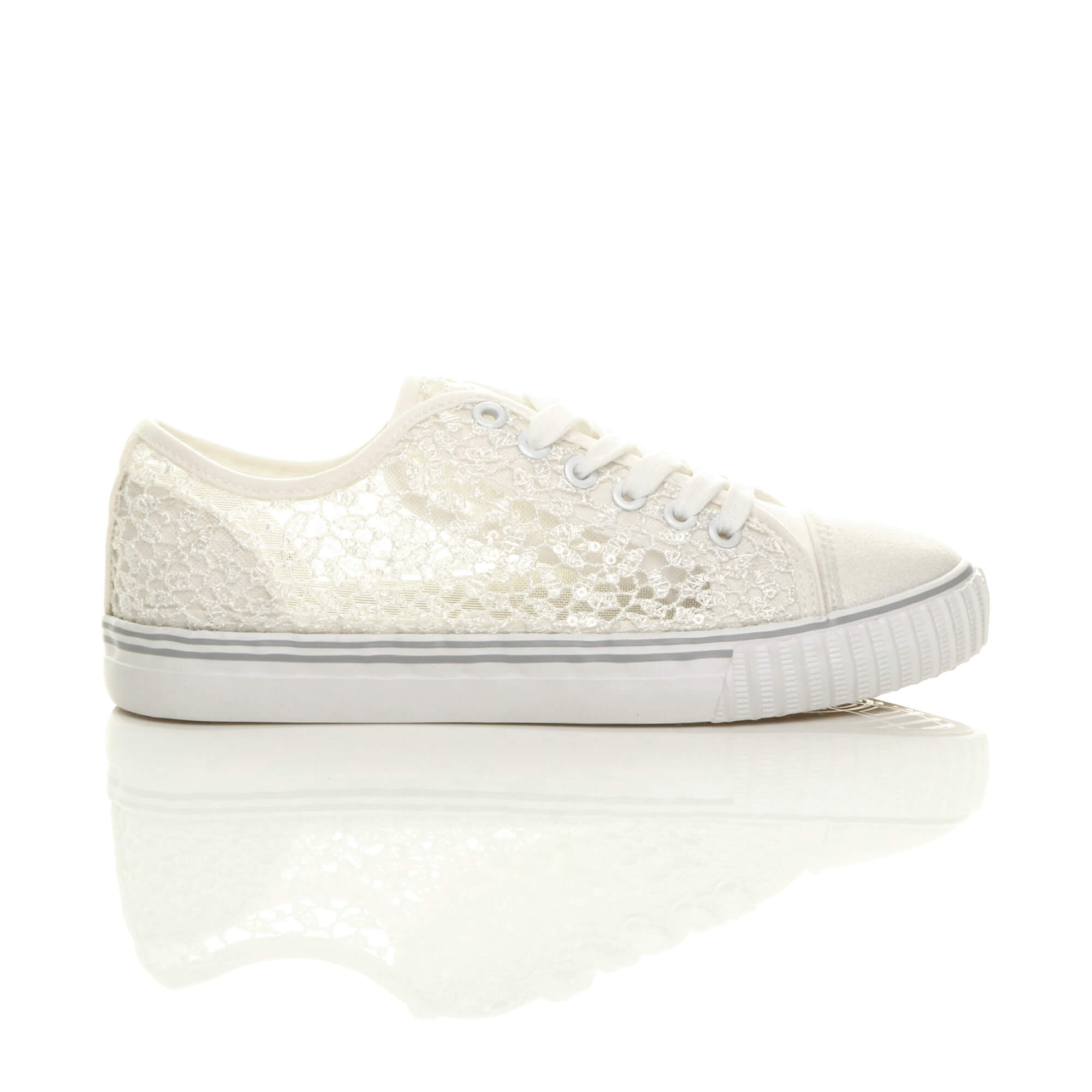 WOMENS LADIES FLAT LACE UP MESH SEQUIN SUMMER LO-TOP ...