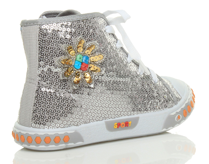 GIRLS CHILDRENS KIDS LACE UP ZIP SEQUIN FLOWER HI HIGH TOP TRAINER BOOTS SIZE