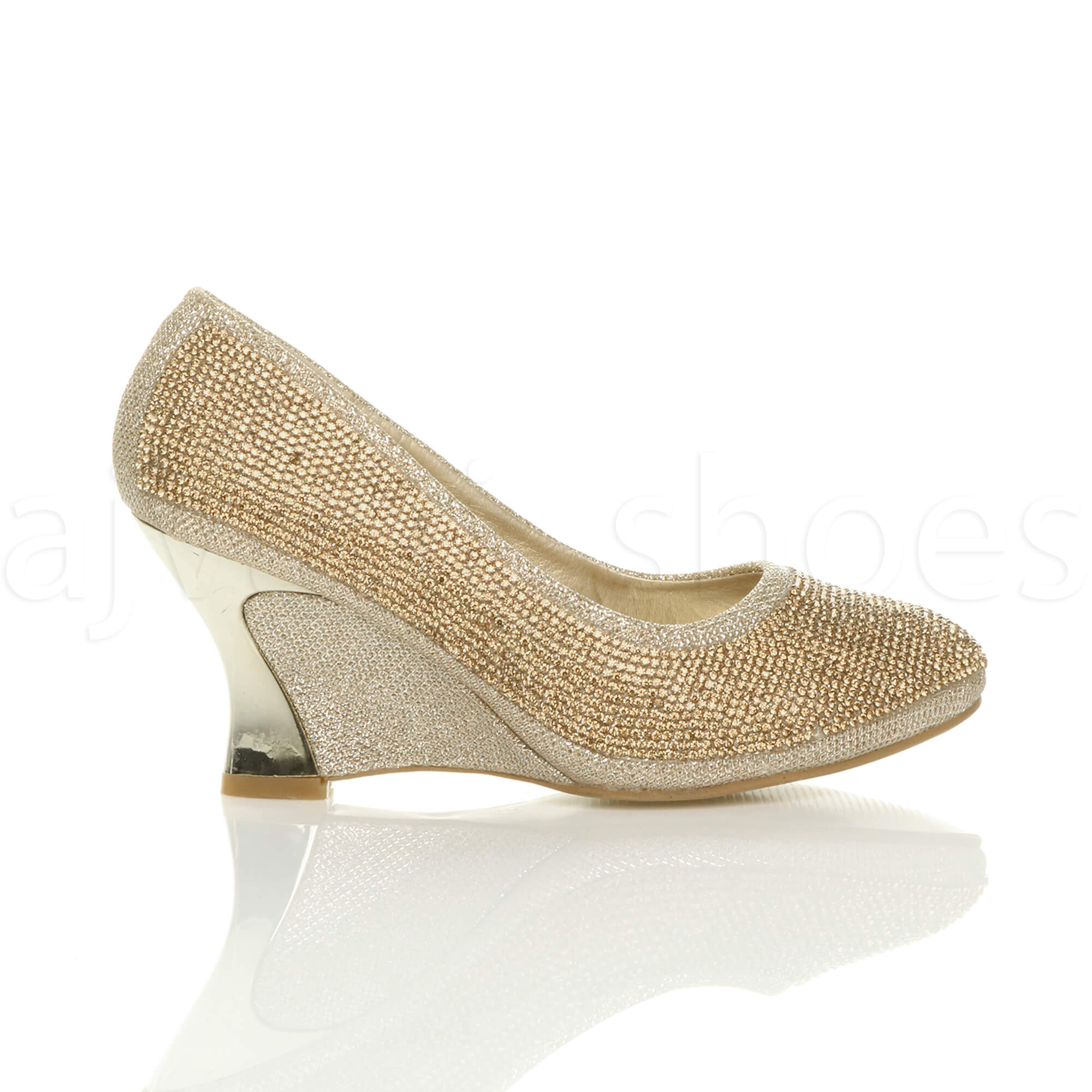 womens mid high heel wedge diamante evening