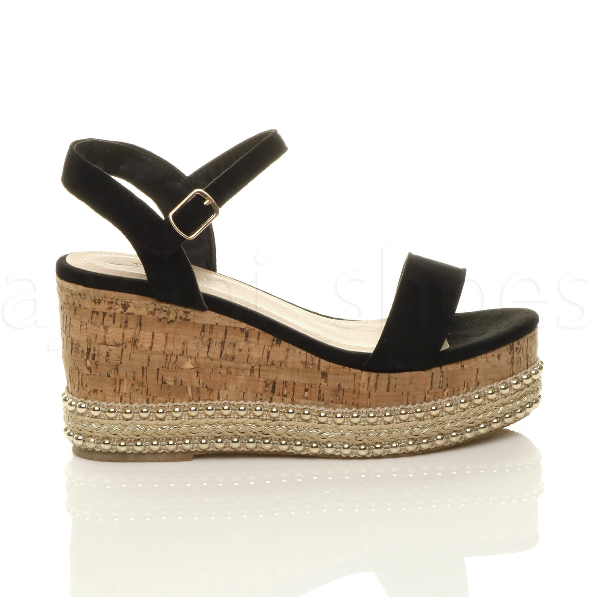 WOMENS LADIES MID WEDGE HEEL STUDDED ESPADRILLE CORK PLATFORM SANDALS SIZE