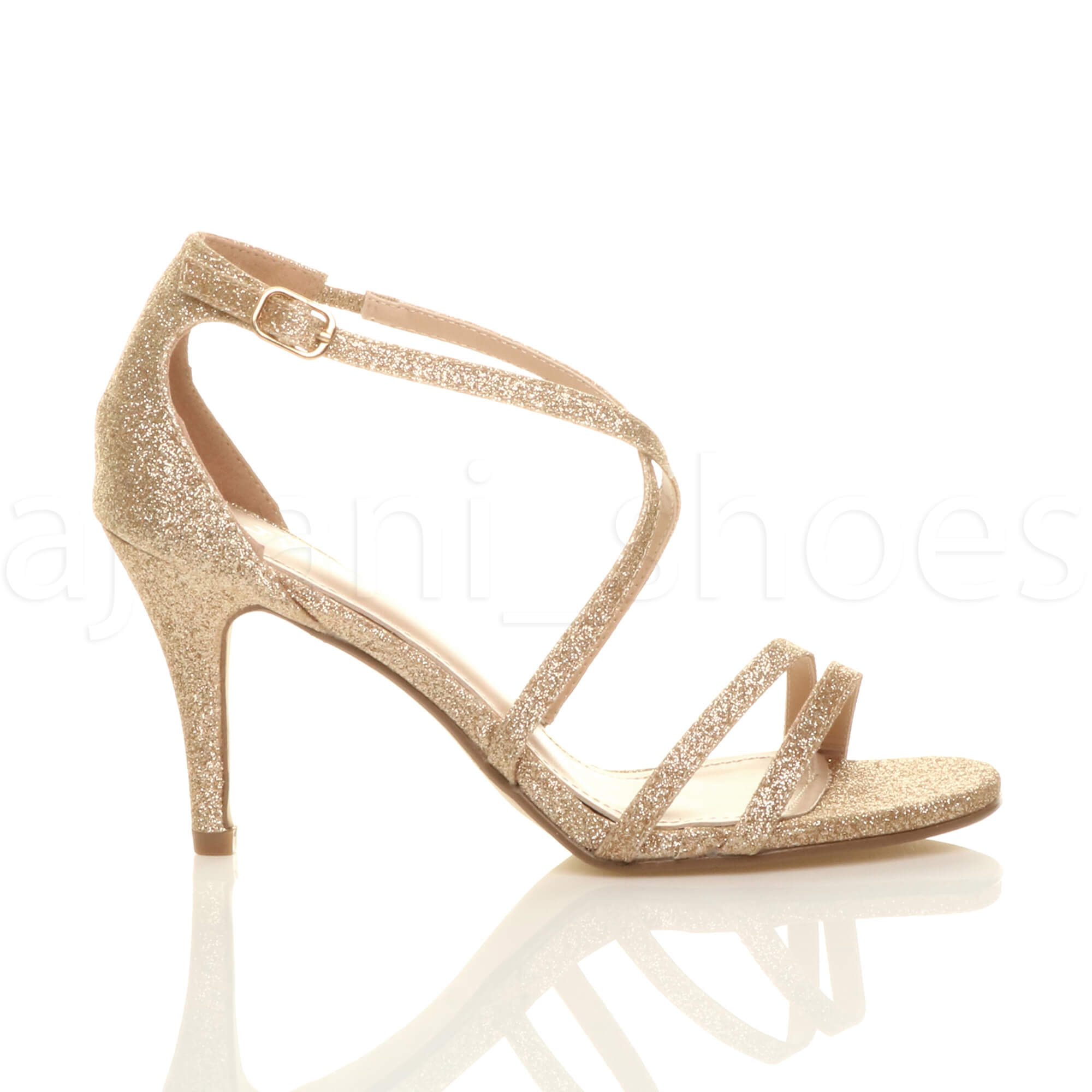 WOMENS LADIES MID HIGH HEEL STRAPPY CROSSOVER WEDDING PROM SANDALS SHOES SIZE   EBay