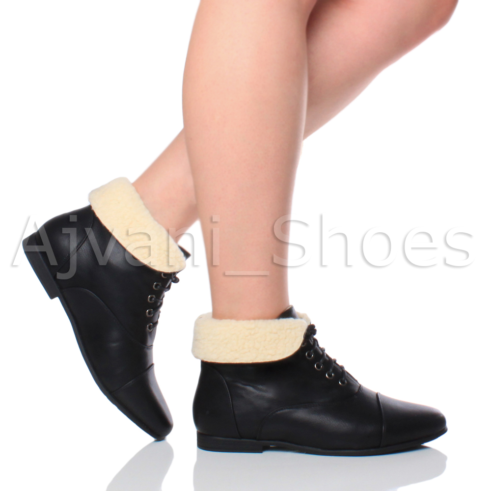 Womens Ladies Low Heel Flat Lace Up Fold Over Cuff Vintage Pixie Ankle Boots Ebay