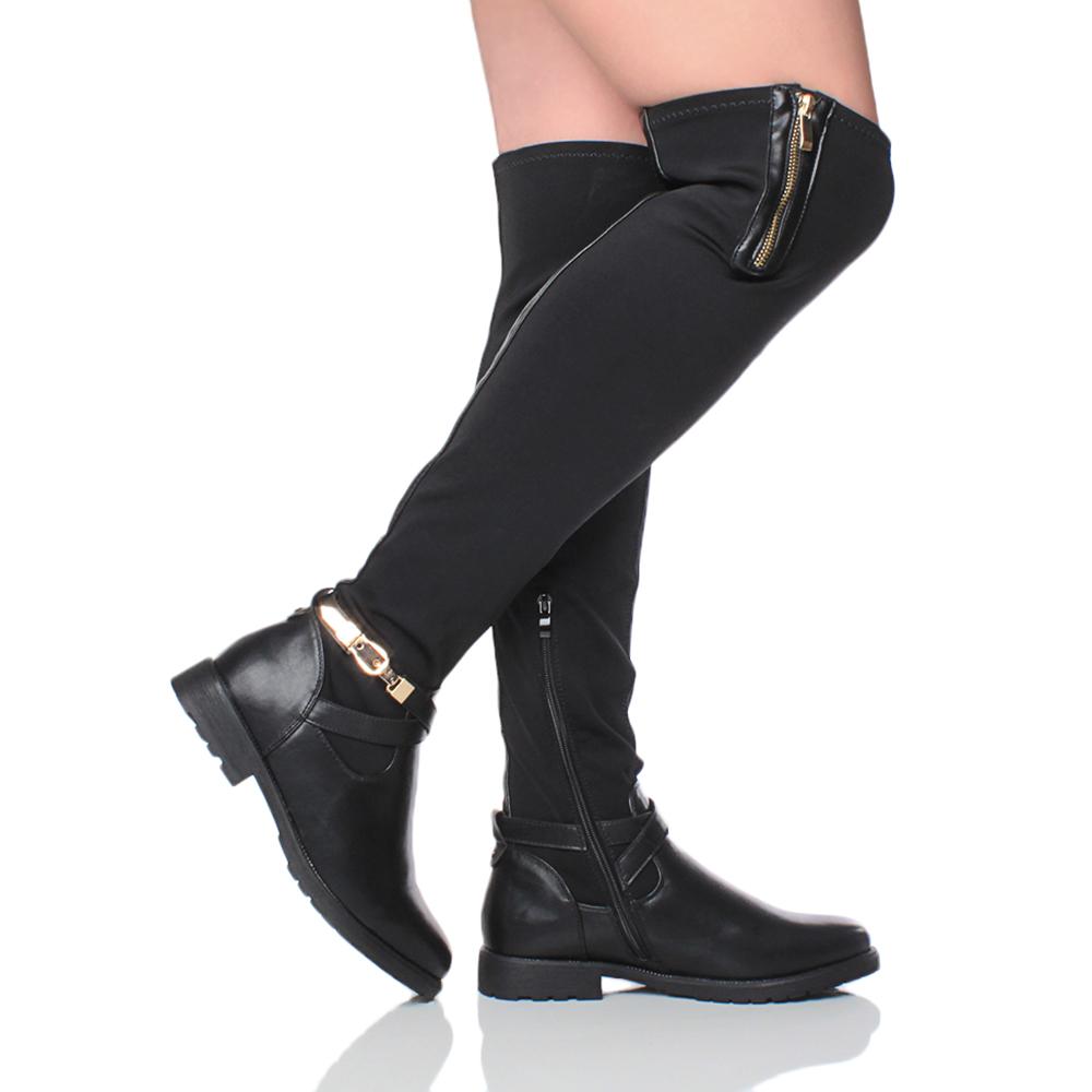 womens ladies flat low block heel over the knee thigh
