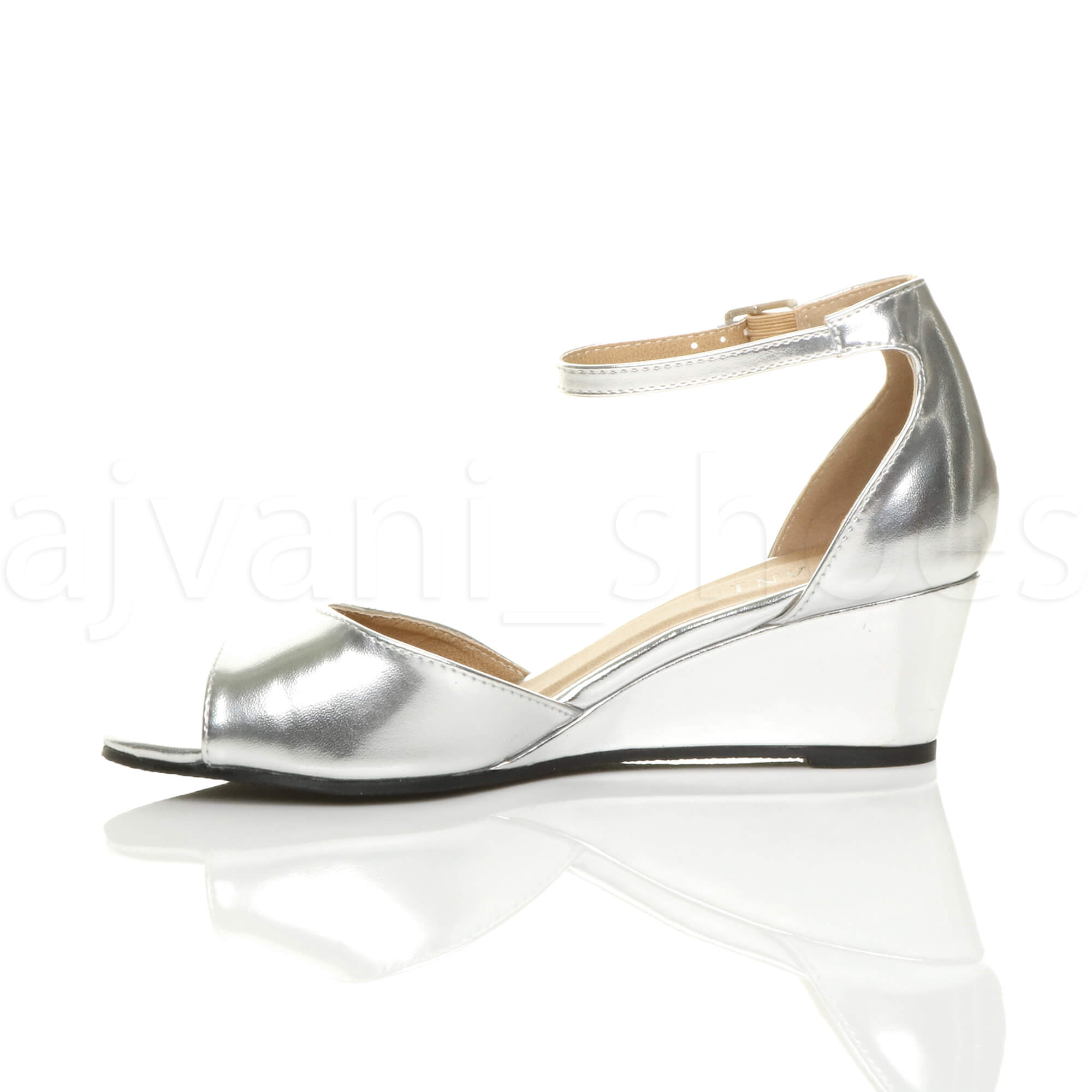 WOMENS LADIES LOW MID WEDGE HEEL ANKLE STRAP SMART CASUAL EVENING SANDALS SIZE
