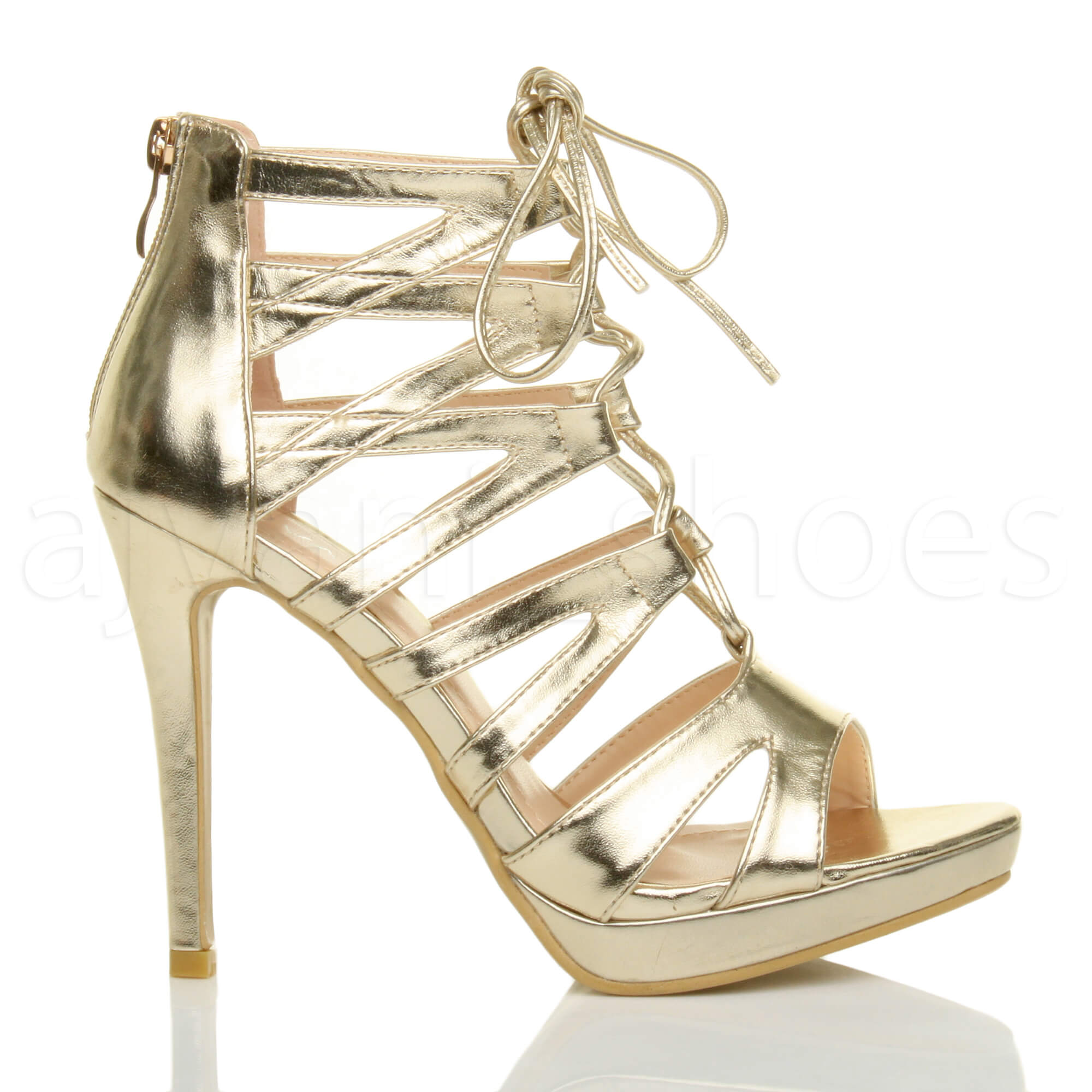 Donna-tacco-alto-stringhe-cerniera-lampo-aperte-a-punta-sandali-scarpe-numero