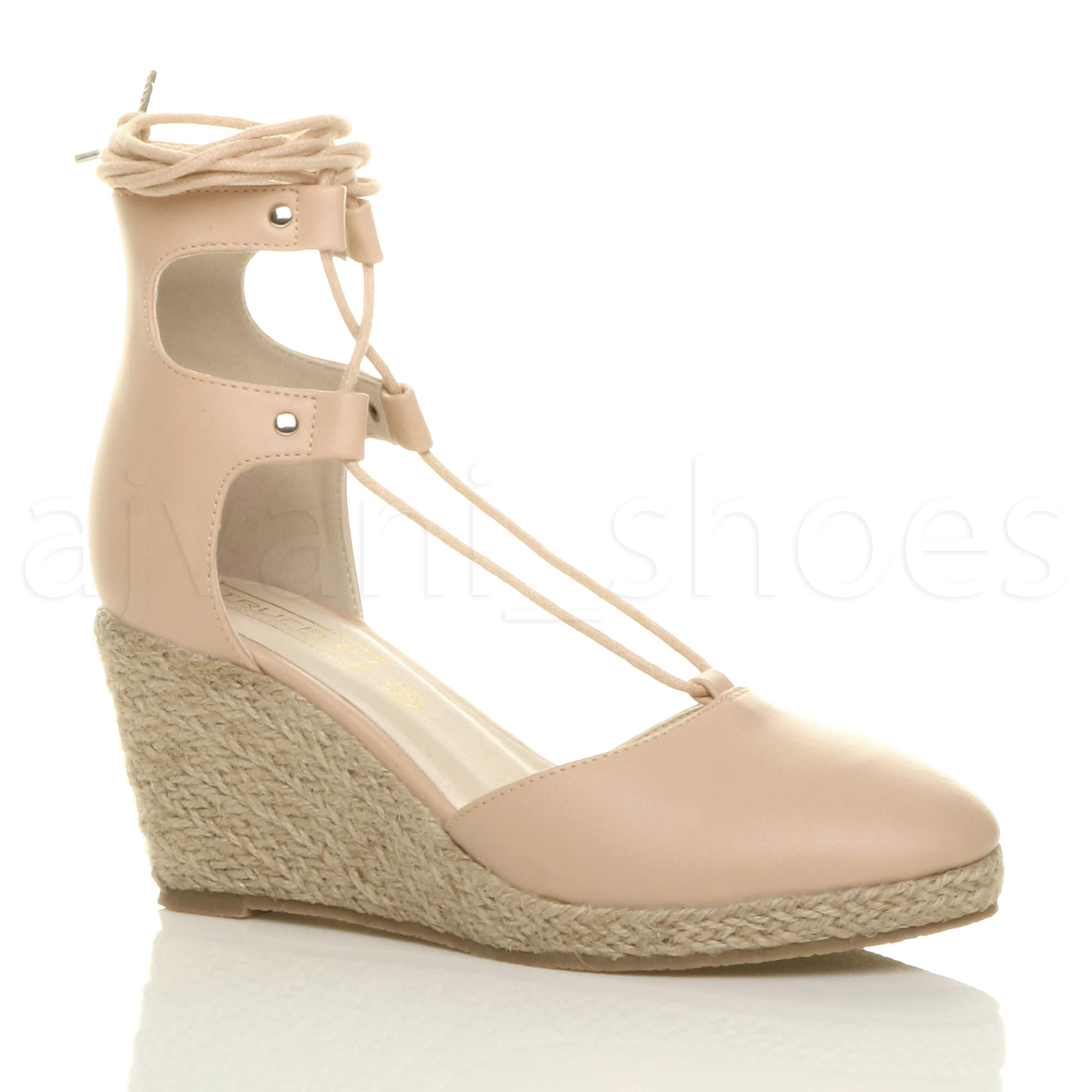 womens mid wedge heel summer ghillie tie up