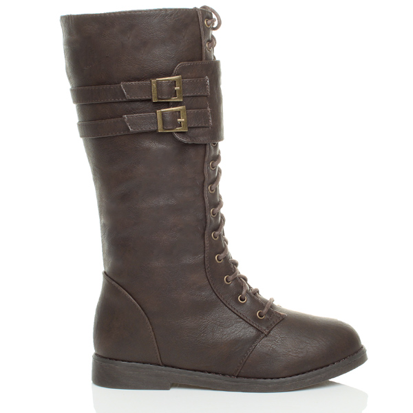 WOMENS LADIES LOW HEEL LACE UP CALF ZIP BUCKLE MILITARY WINTER BOOTS SIZE 4 37