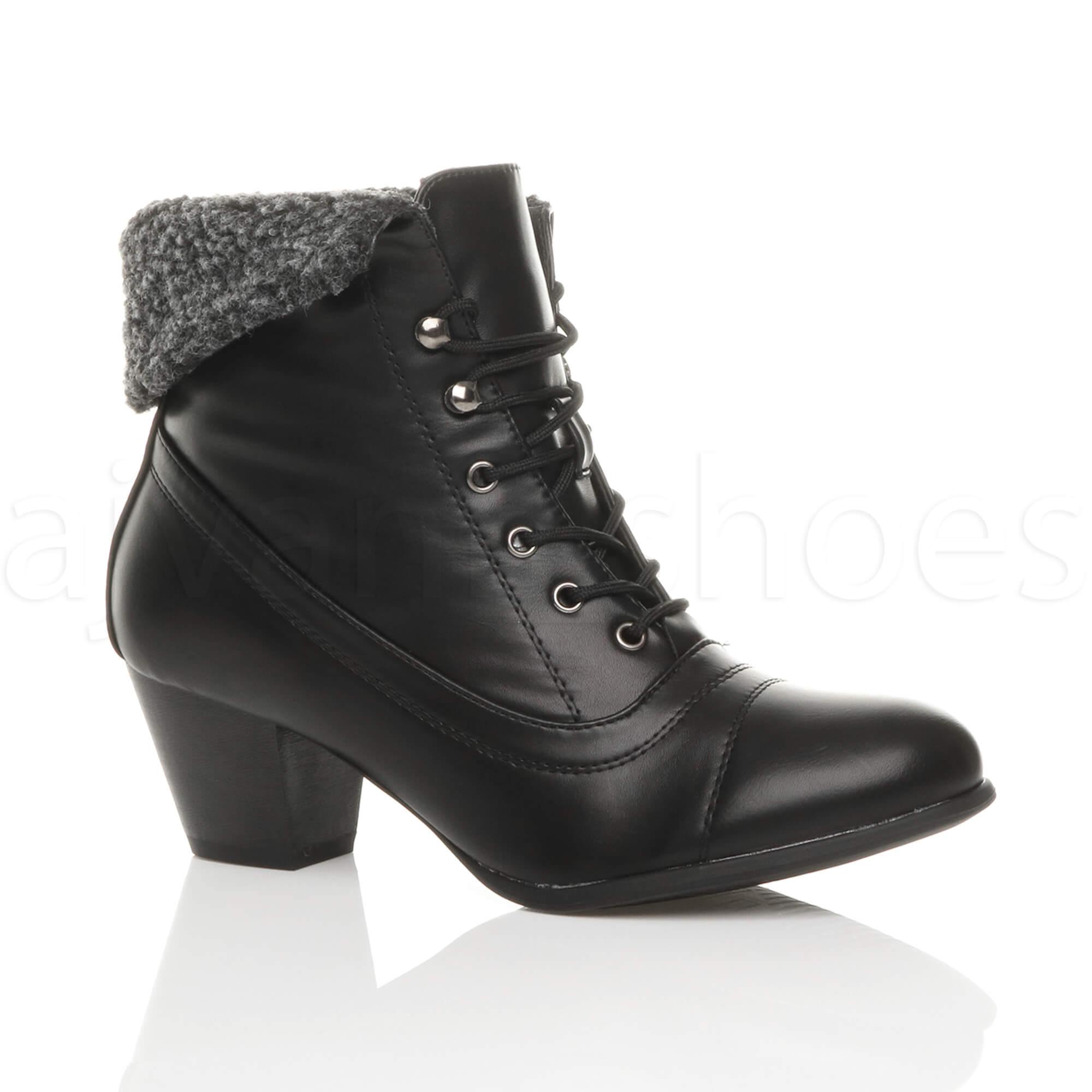 womens mid heel lace up vintage fur cuff winter
